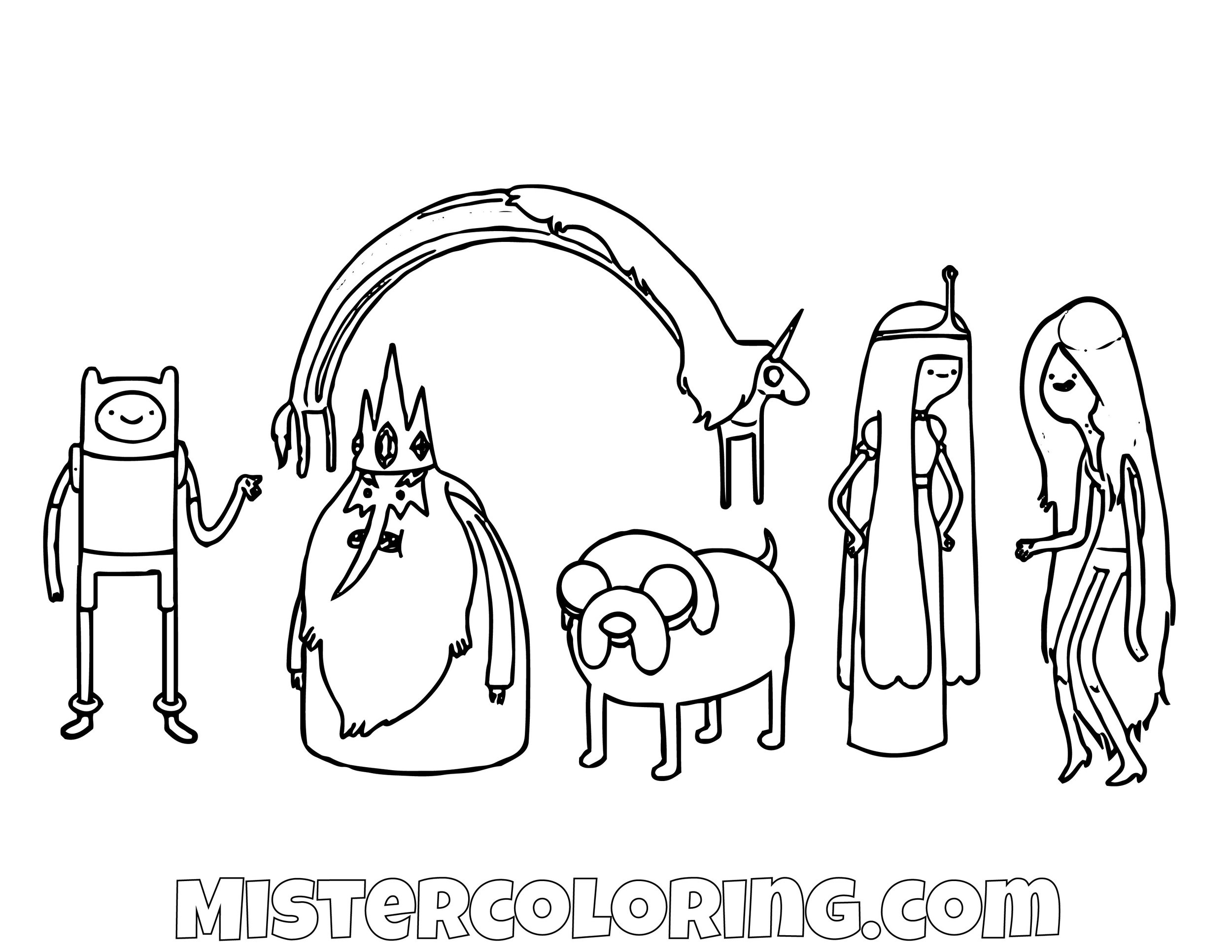 Finn The Human Ice King Lady Raincorn Jack The Dog Princess Bubblegum Marceline The Vampire Queen Adventure Time Coloring Page