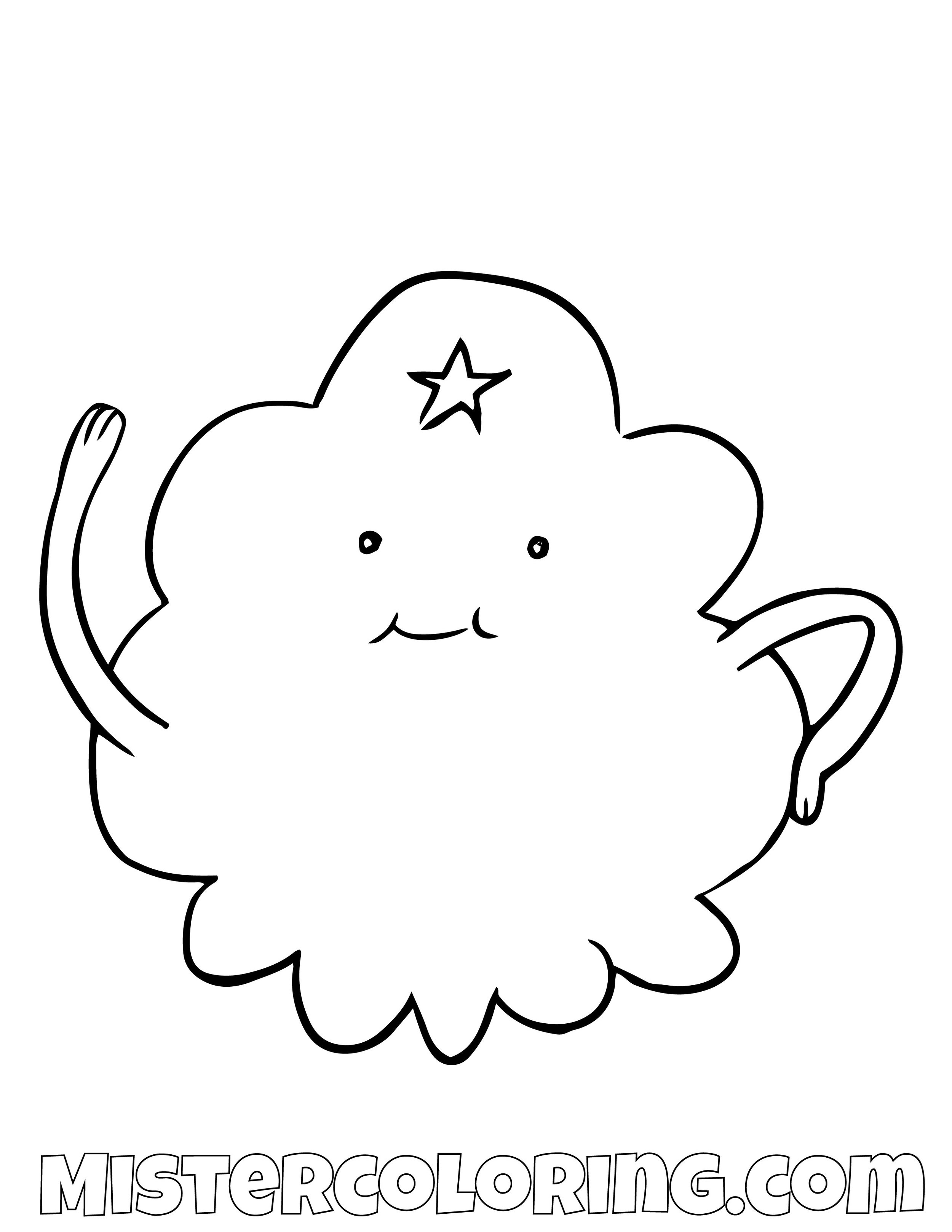 Lumpy Space Saying Hello Adventure Time Coloring Page