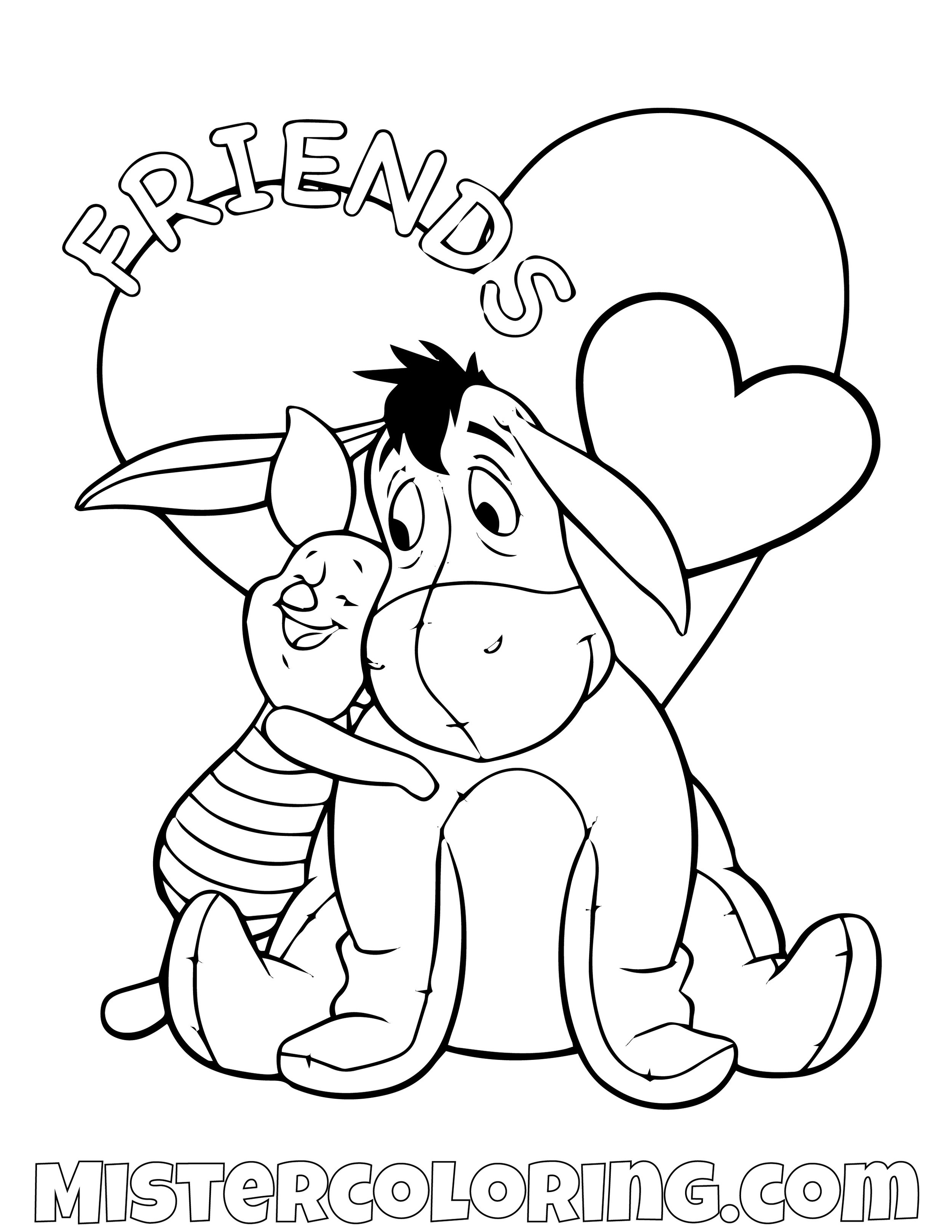 Eeyore And Piggy Friends Winnie The Pooh Coloring Page