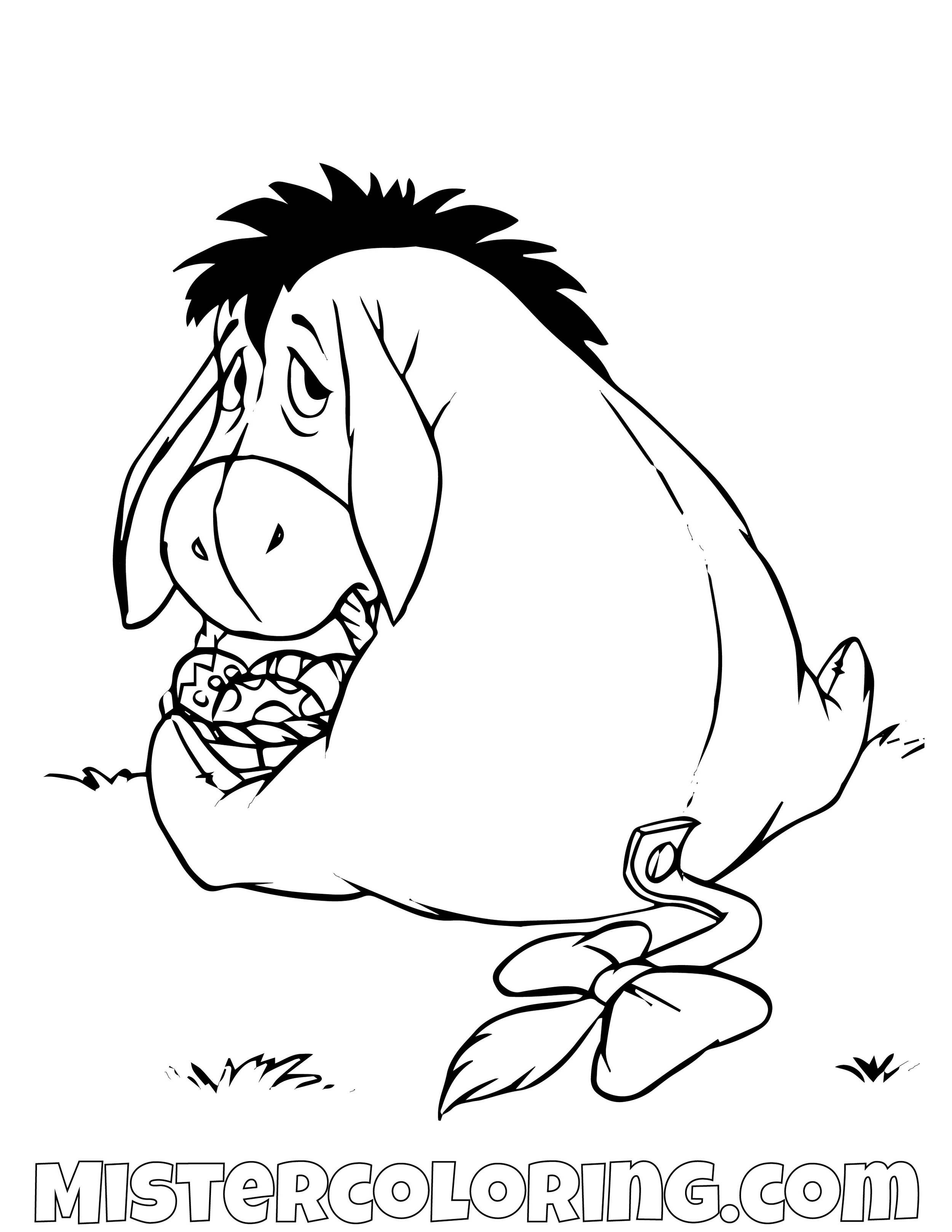 Eeyore Hiding His Easter Eggs Winnie The Pooh Coloring Page
