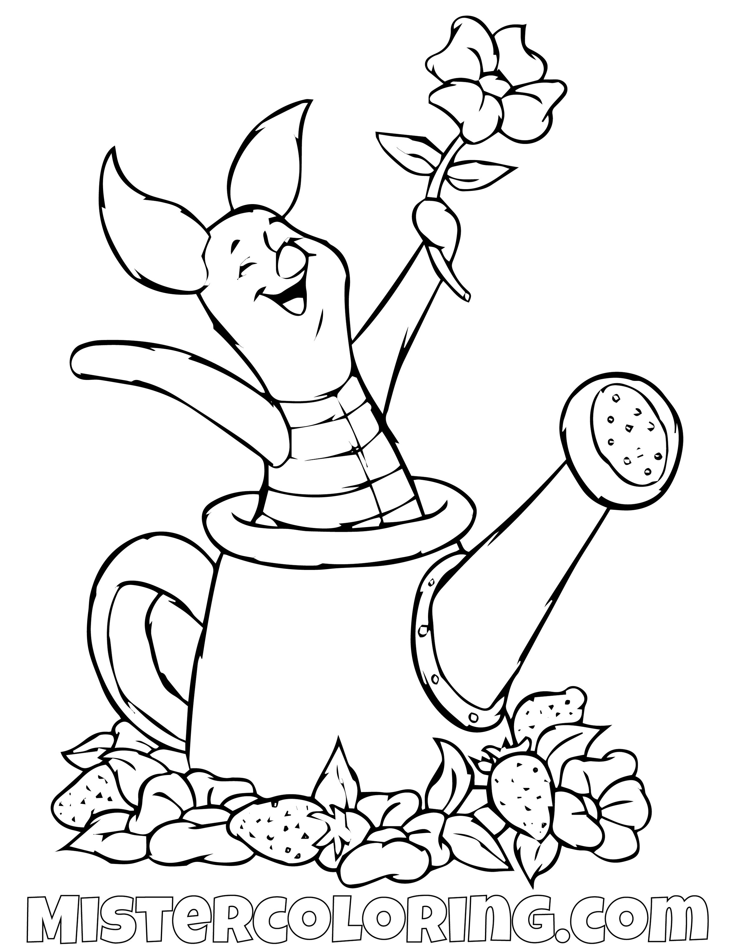 Piggy In A Watering Can Winnie The Pooh Coloring Page