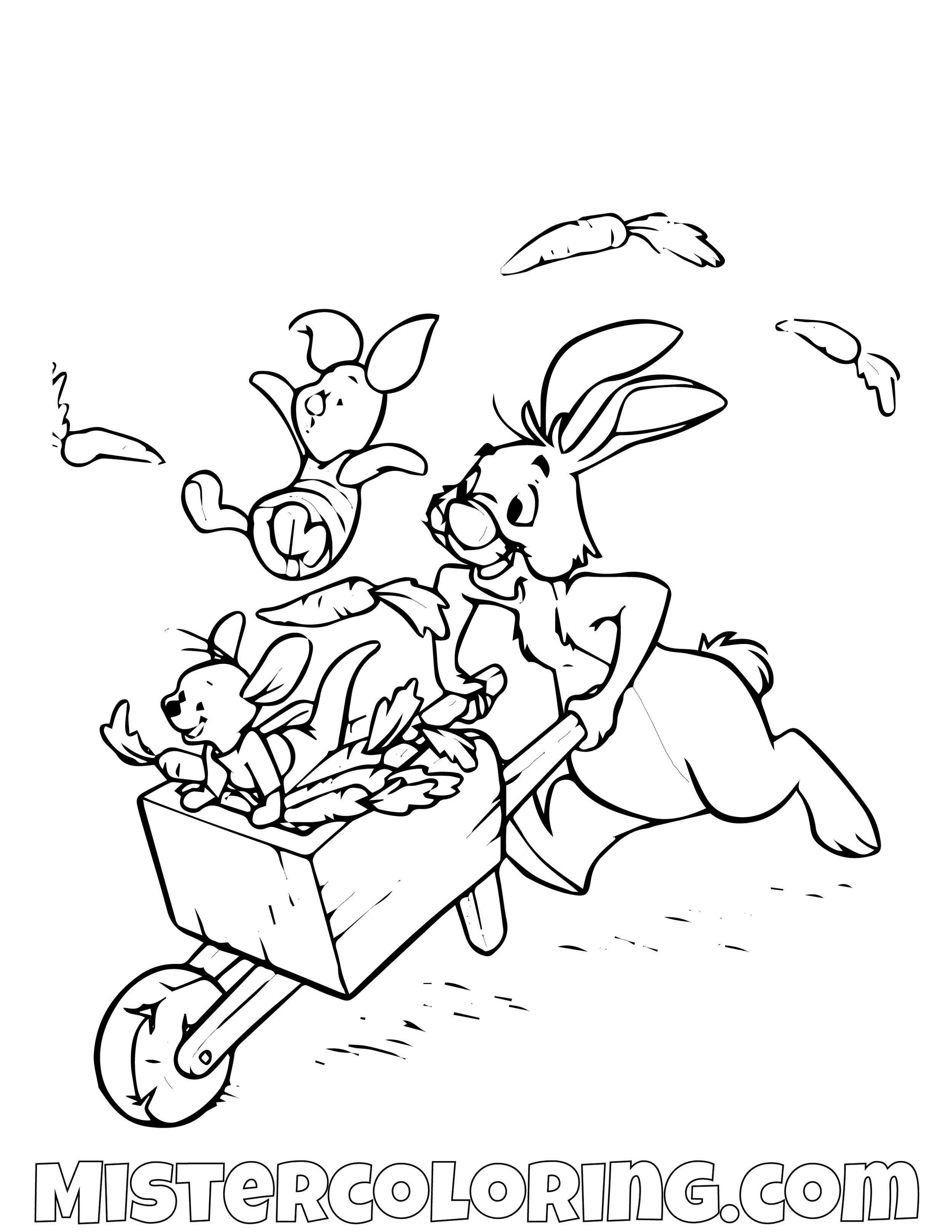 Rabbit Piggy And Roo With A Cart Of Carrots Winnie The Pooh Coloring Page