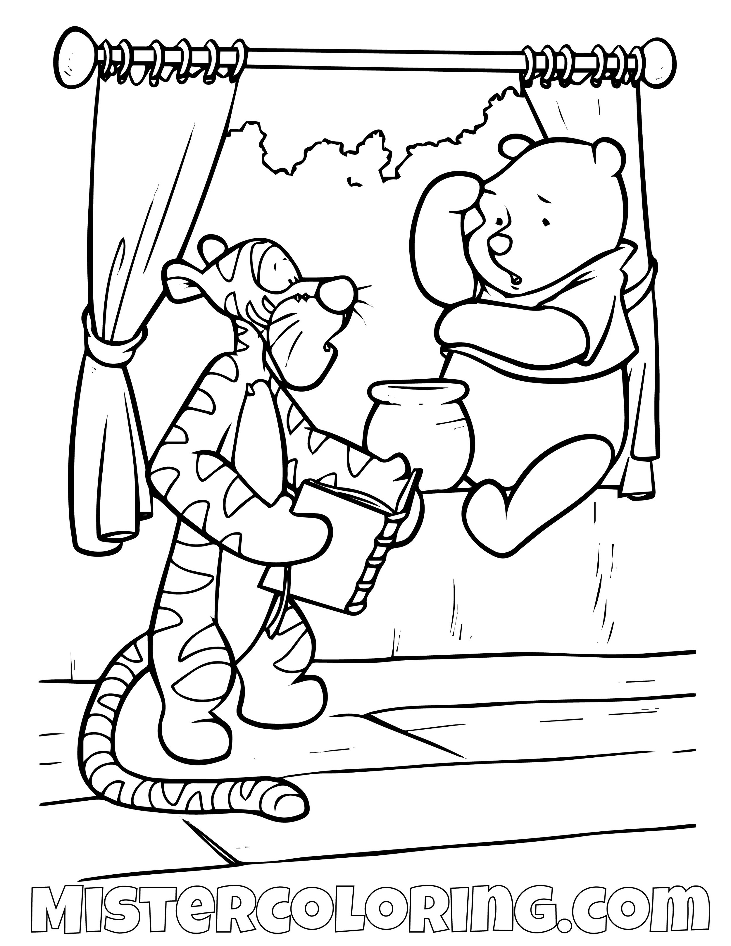 Tiger Showing Book To Winnie The Pooh Coloring Page