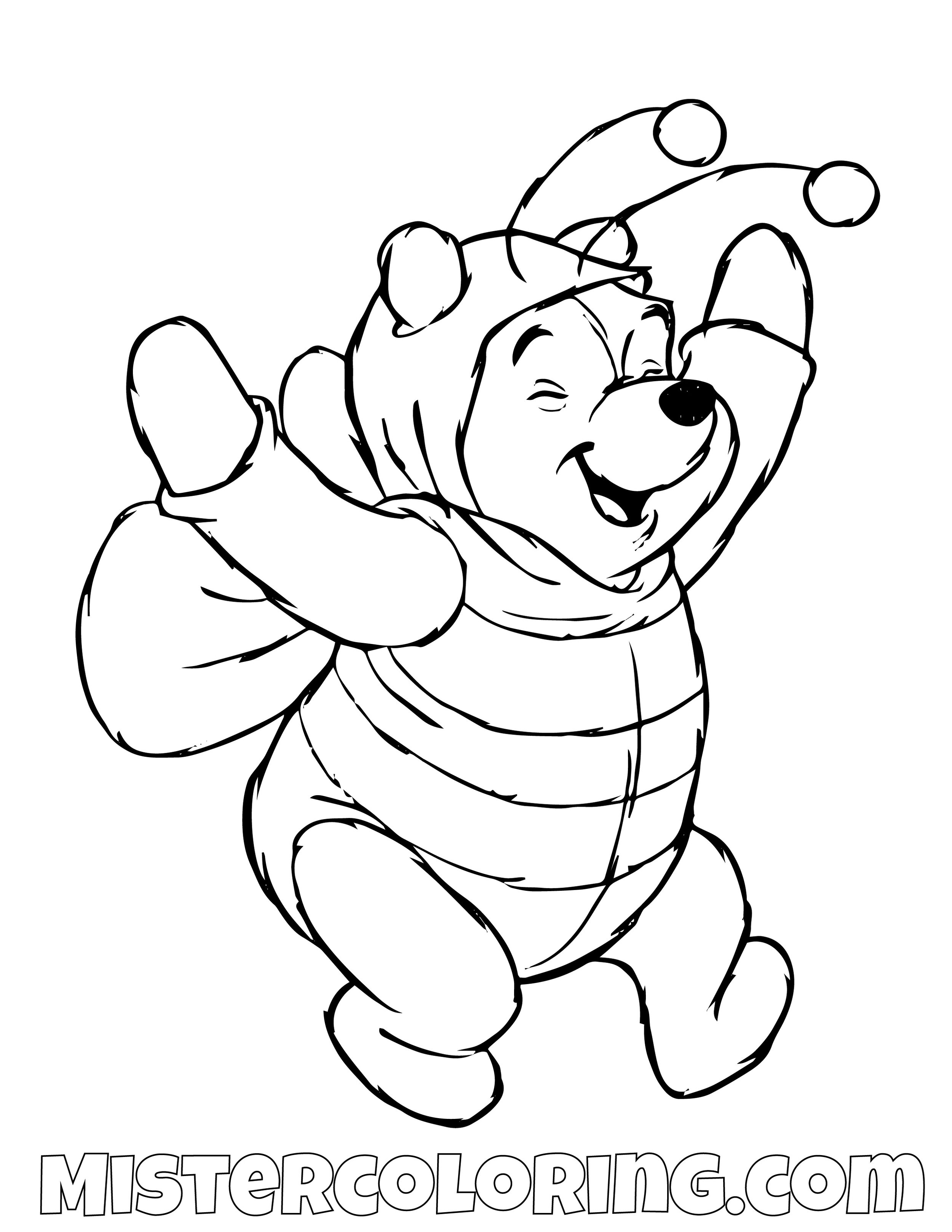 Winnie The Poo Bee Costume Winnie The Pooh Coloring Page