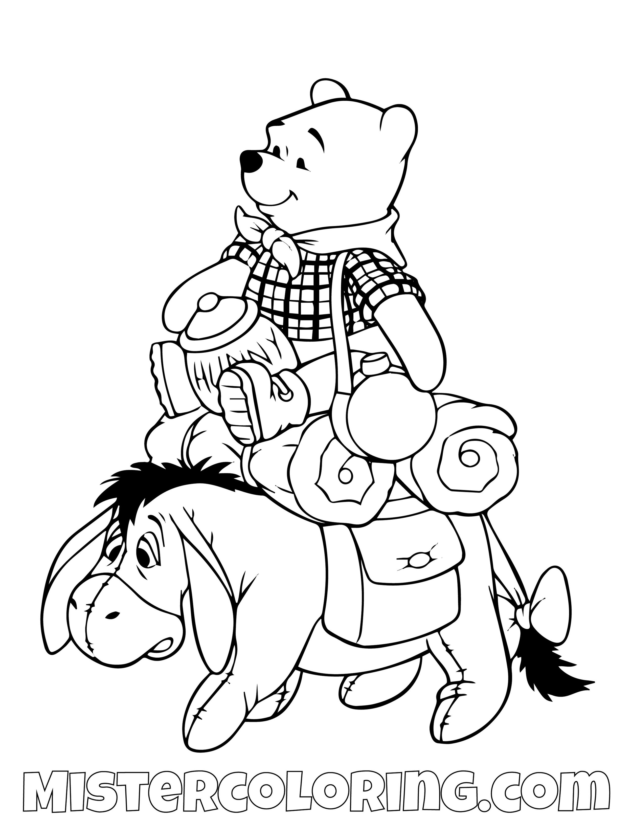 Winnie The Pooh And Eeyore Traveling Coloring Page