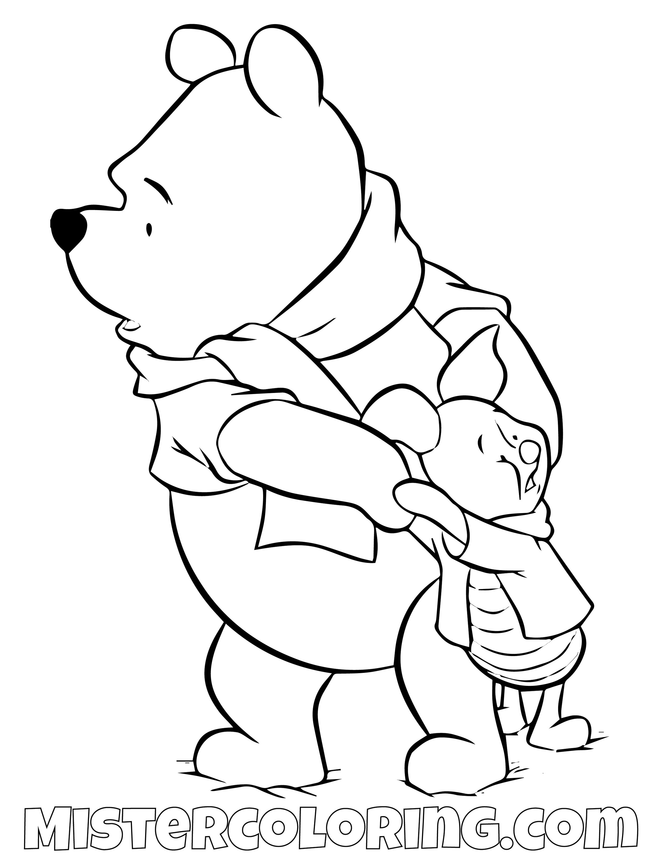 Winnie The Pooh And Piggy Cold Coloring Page