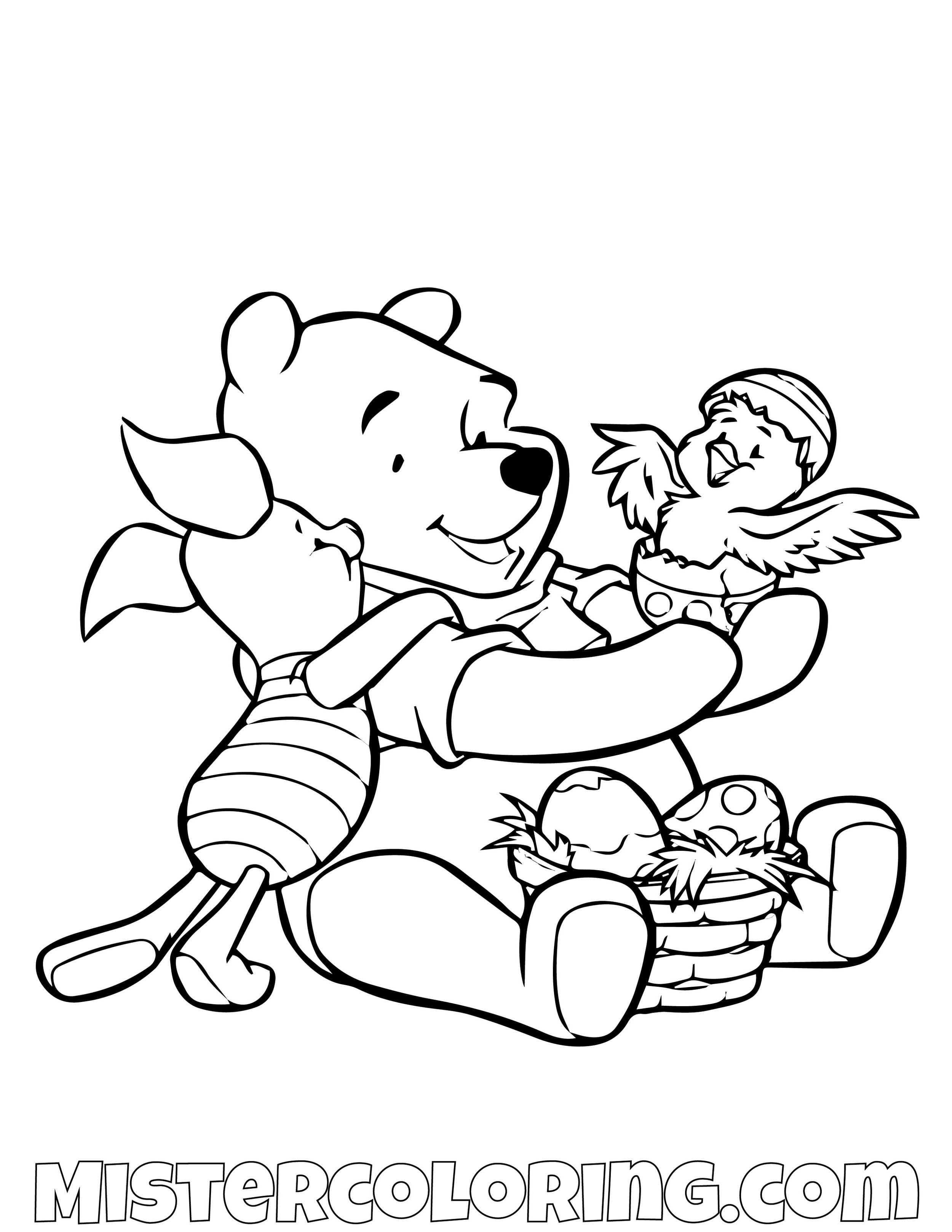 Winnie The Pooh And Piggy Looking At Bird Coloring Page