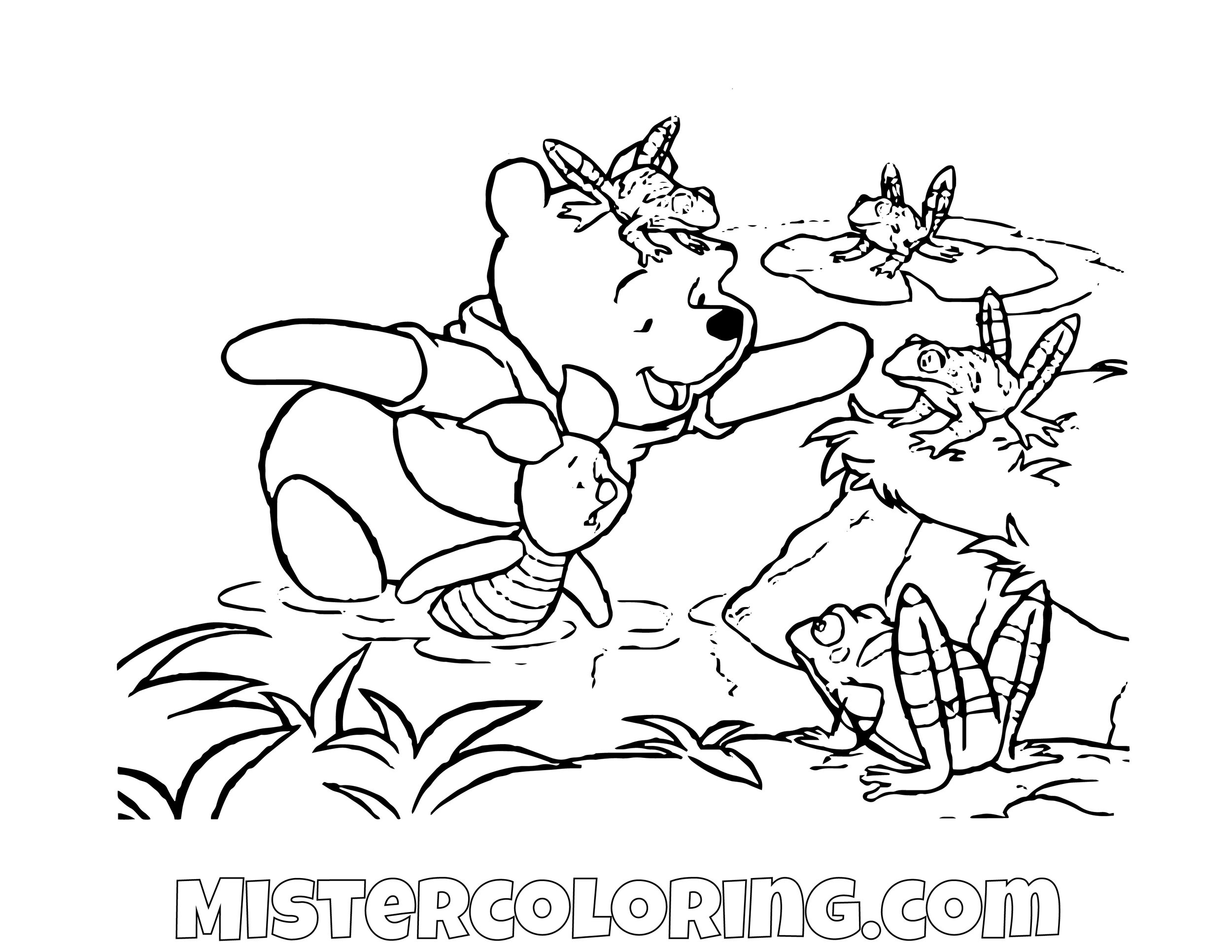 Winnie The Pooh And Piggy Playing With Frogs Coloring Page