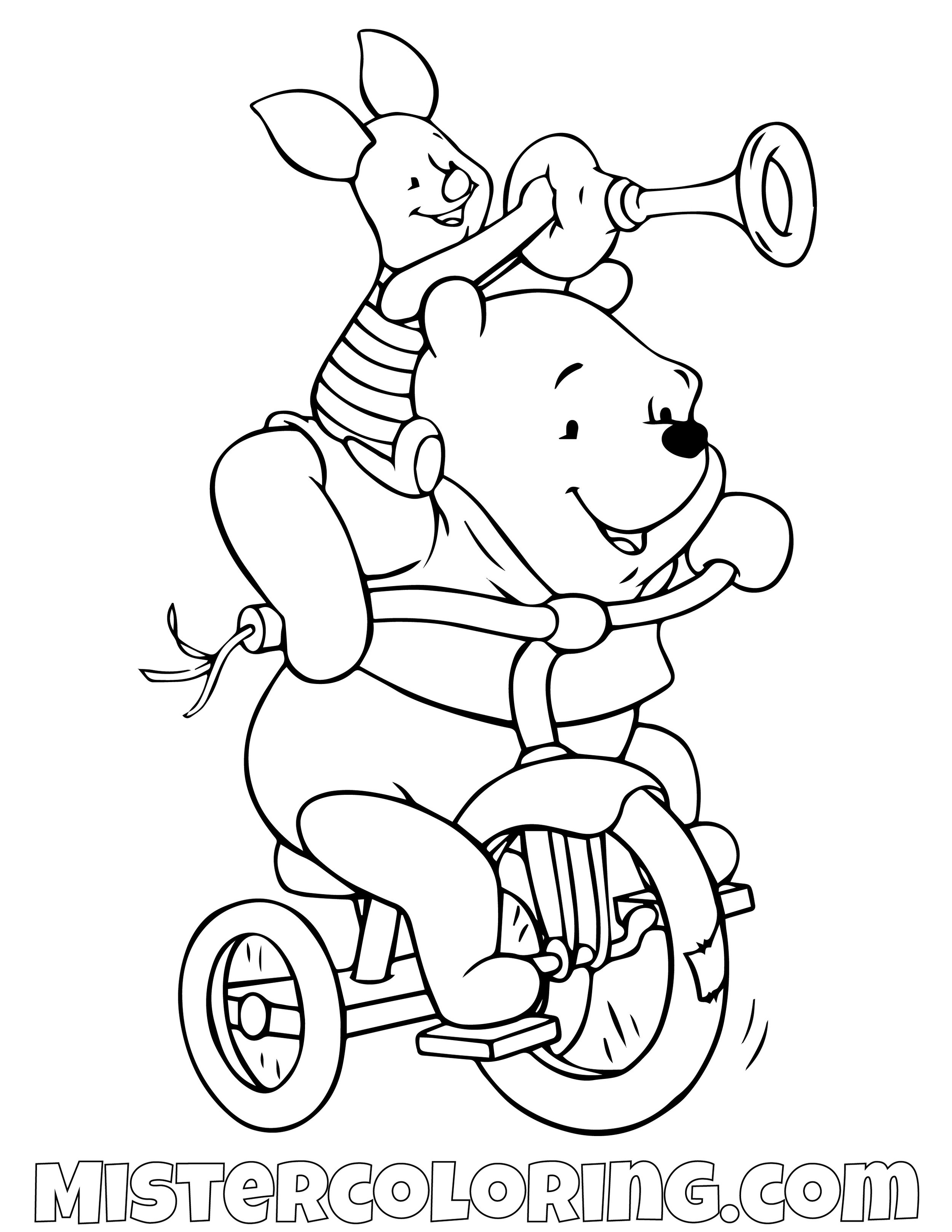 Winnie The Pooh And Piggy Riding a Bicycle Coloring Page