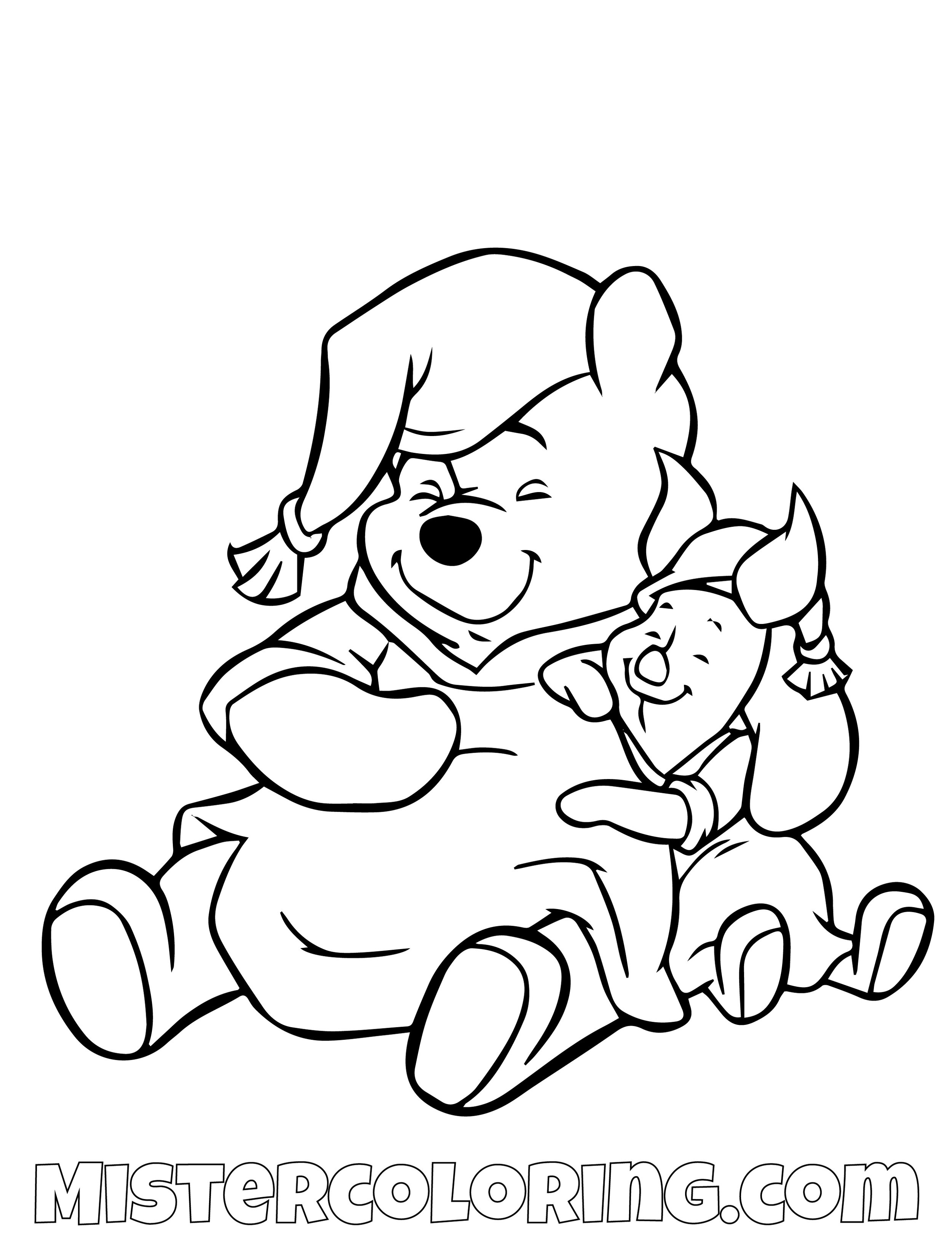 Winnie The Pooh And Piggy Taking A Nap Coloring Page