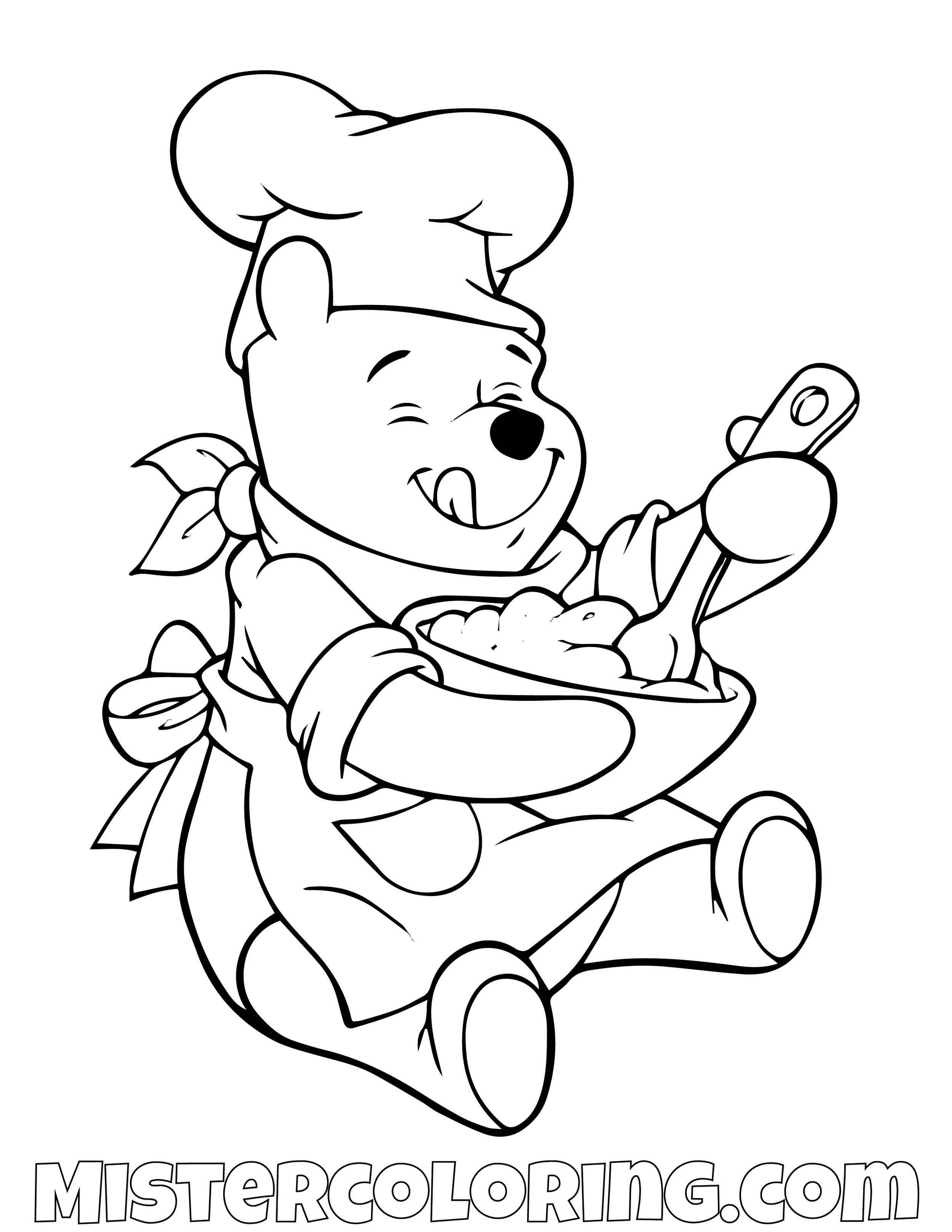 Winnie The Pooh As A Chef Coloring Page