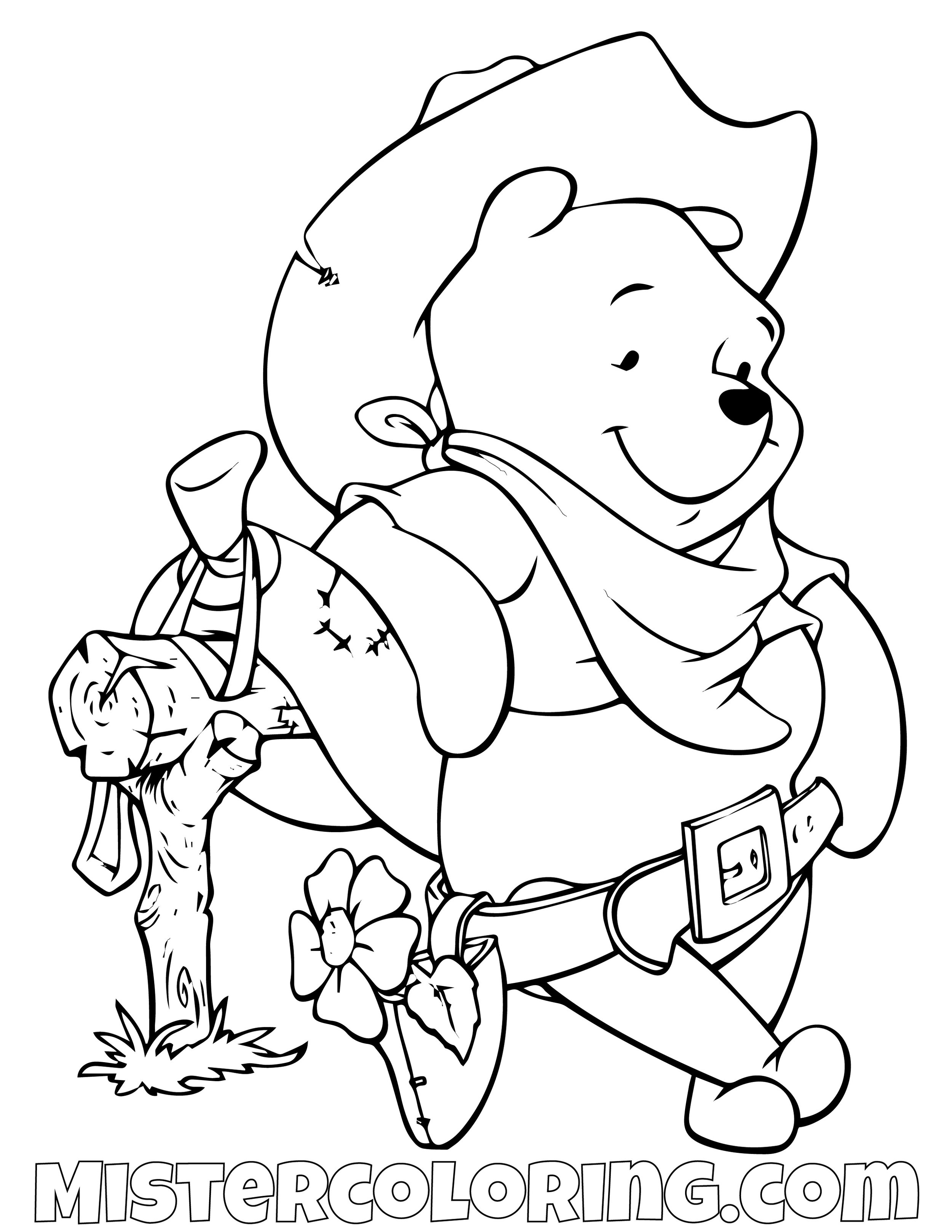 Winnie The Pooh As A Cowboy Coloring Page