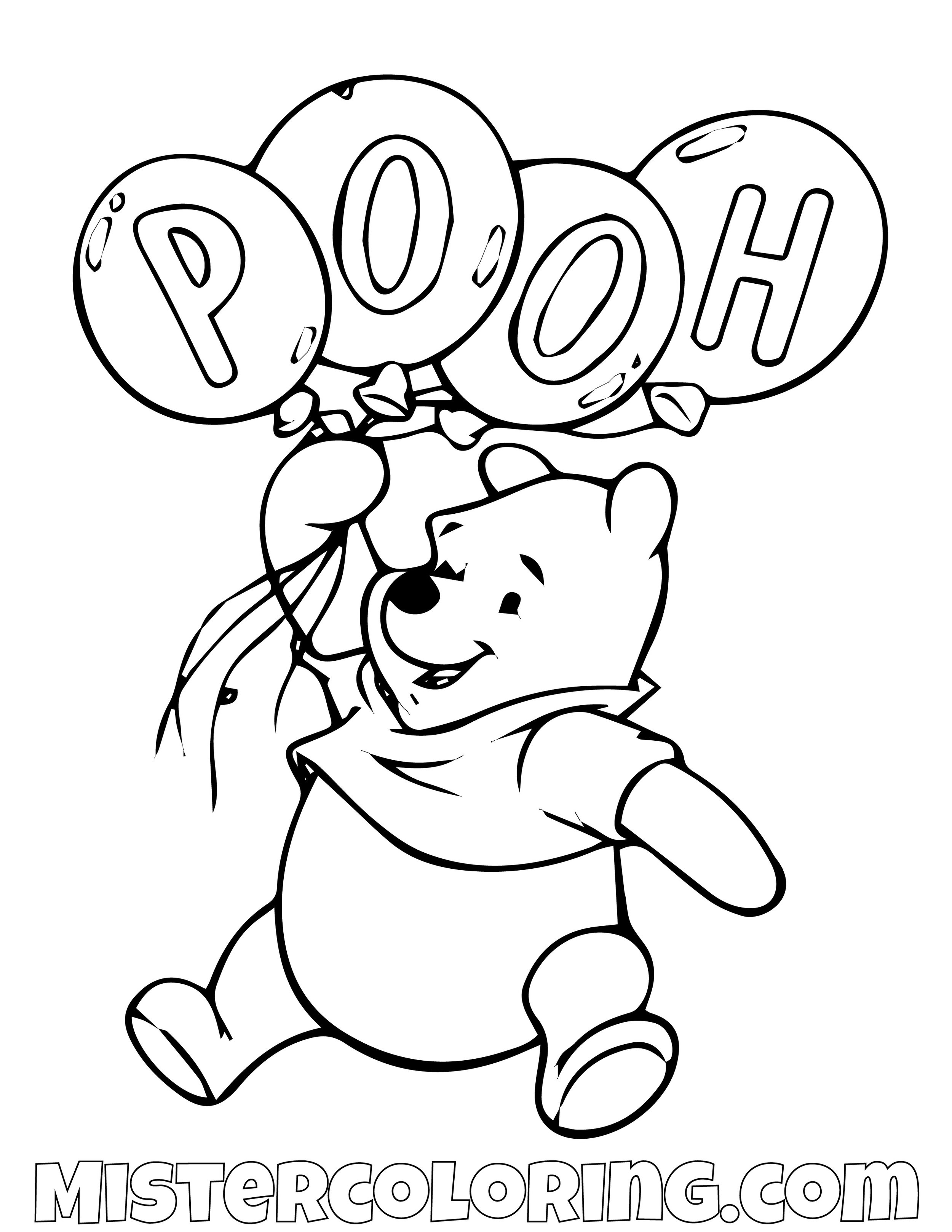 Winnie The Pooh Balloons Coloring Page