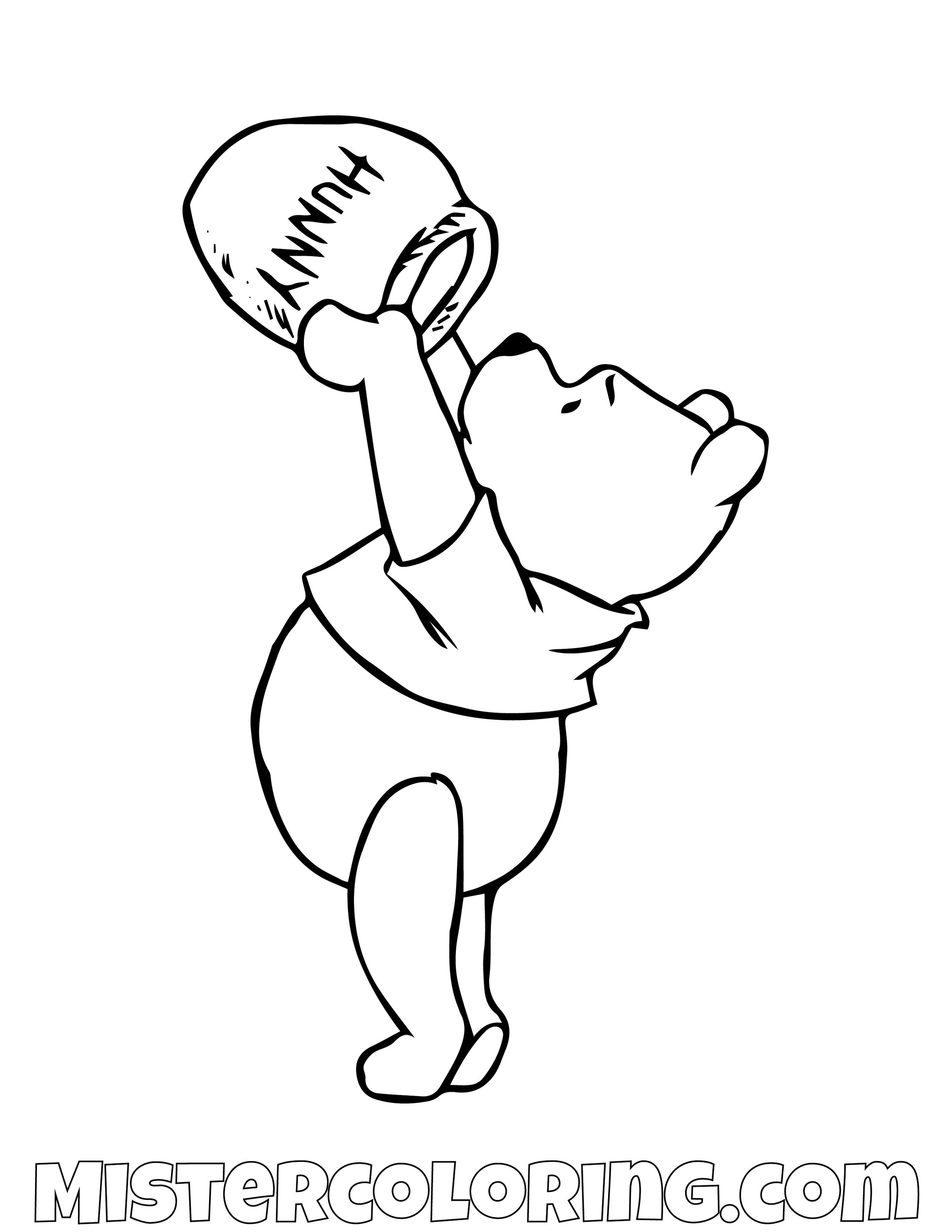 Winnie The Pooh Checking Honey Pot Coloring Page