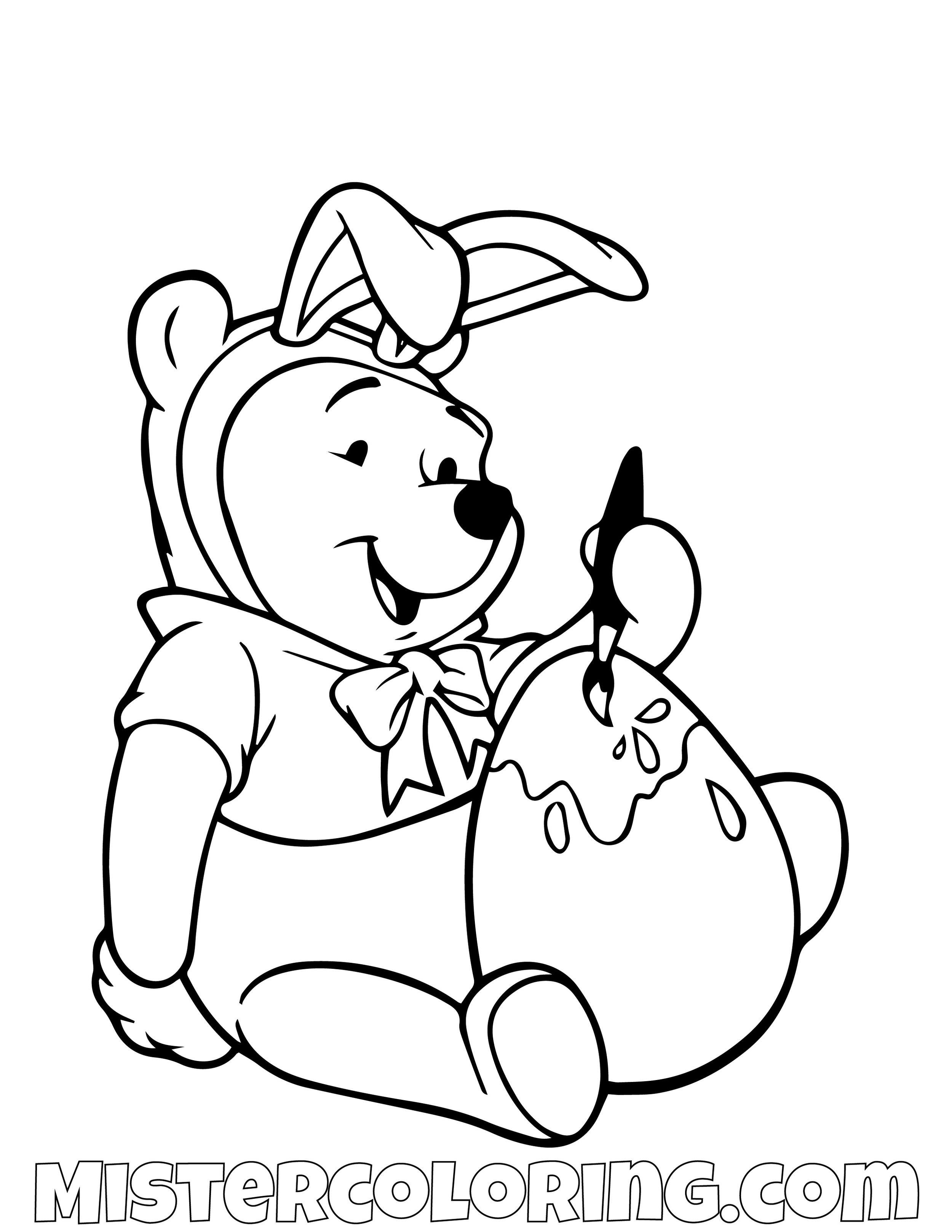 Winnie The Pooh Coloring An Easter Egg Coloring Page