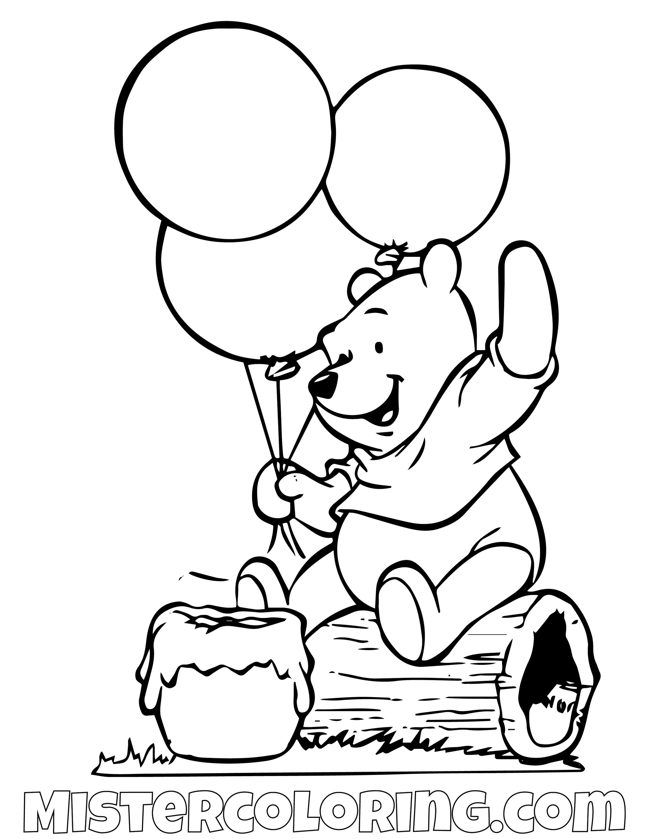 Winnie The Pooh Eating Honey Coloring Page