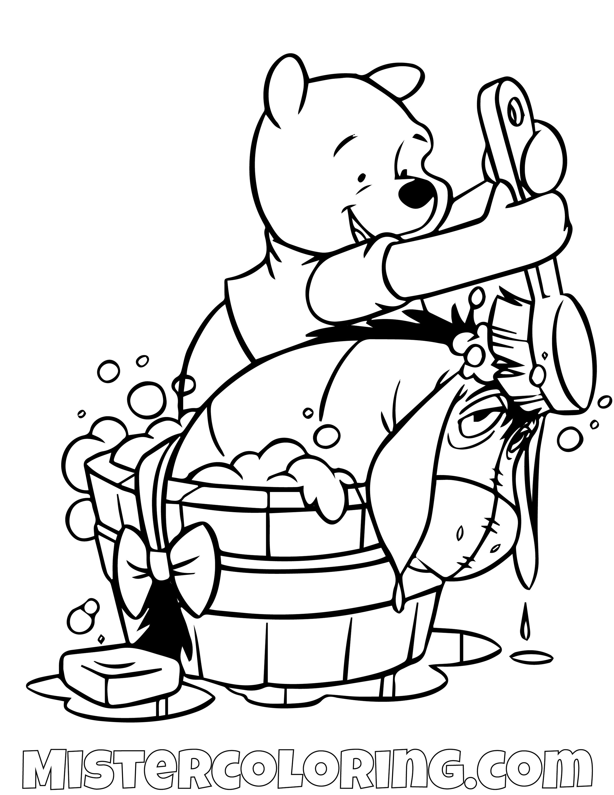 Winnie The Pooh Giving Donkey A Shower Coloring Page