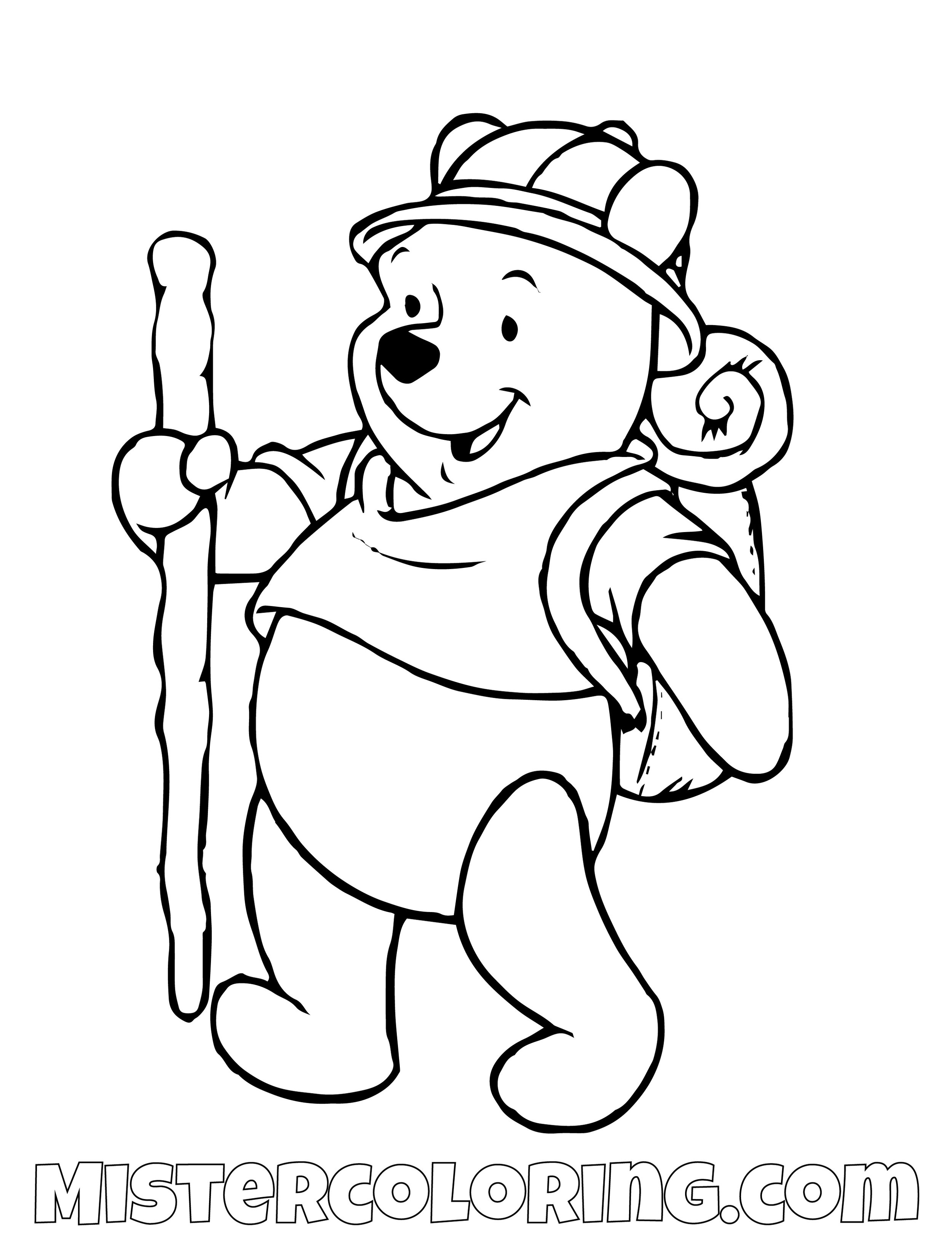Winnie The Pooh Hiking Coloring Page