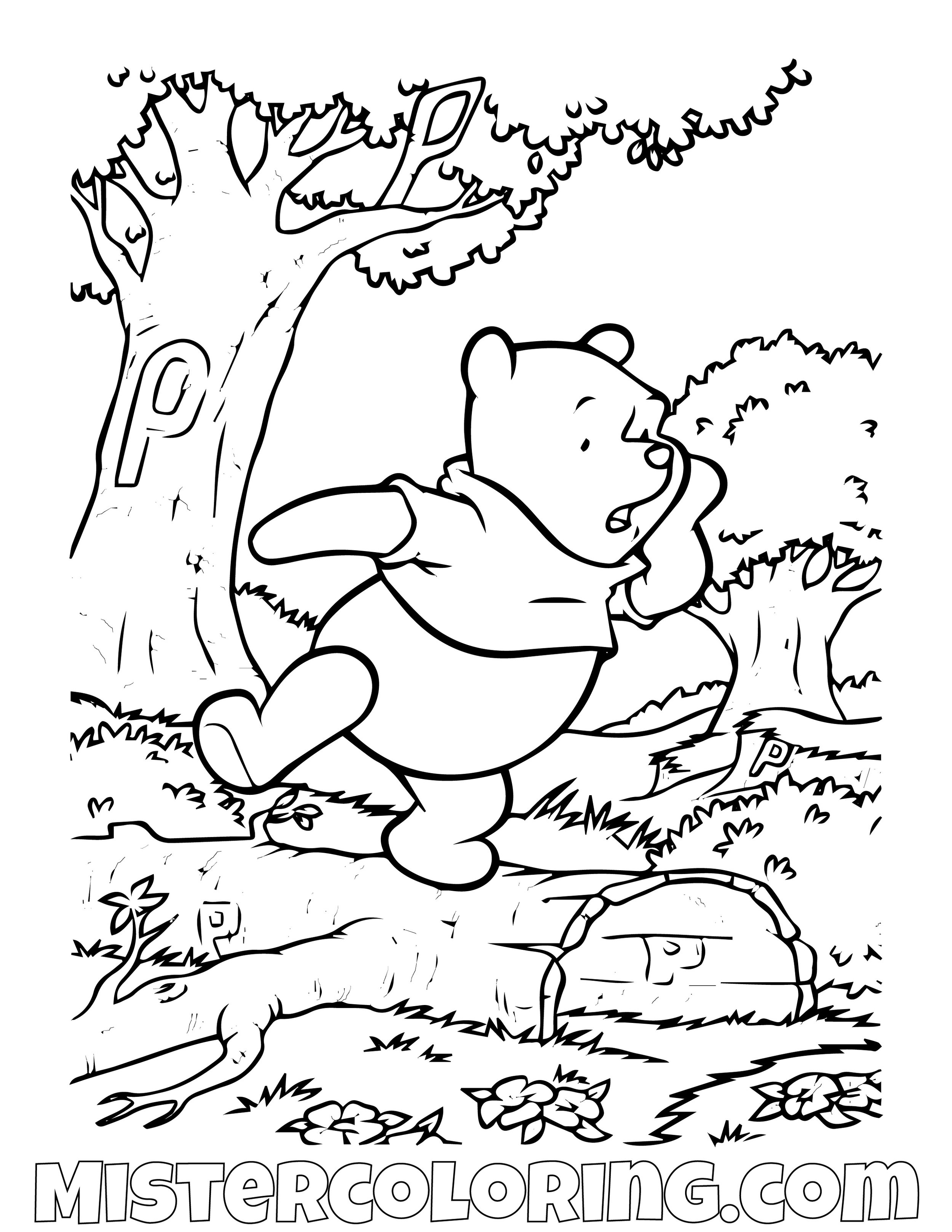 Winnie The Pooh Hidden P Coloring Page
