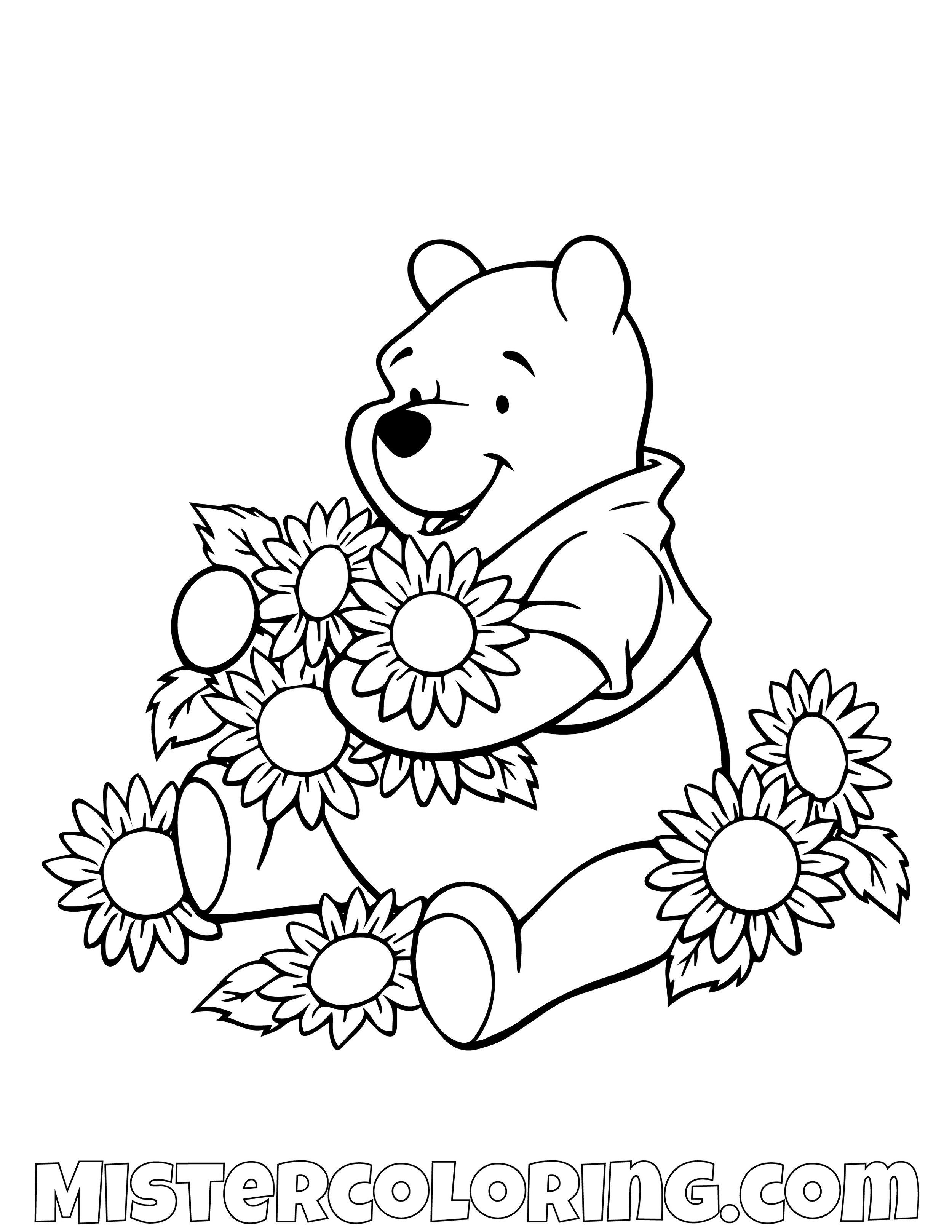 Winnie The Pooh Playing With Sun Flowers Coloring Page