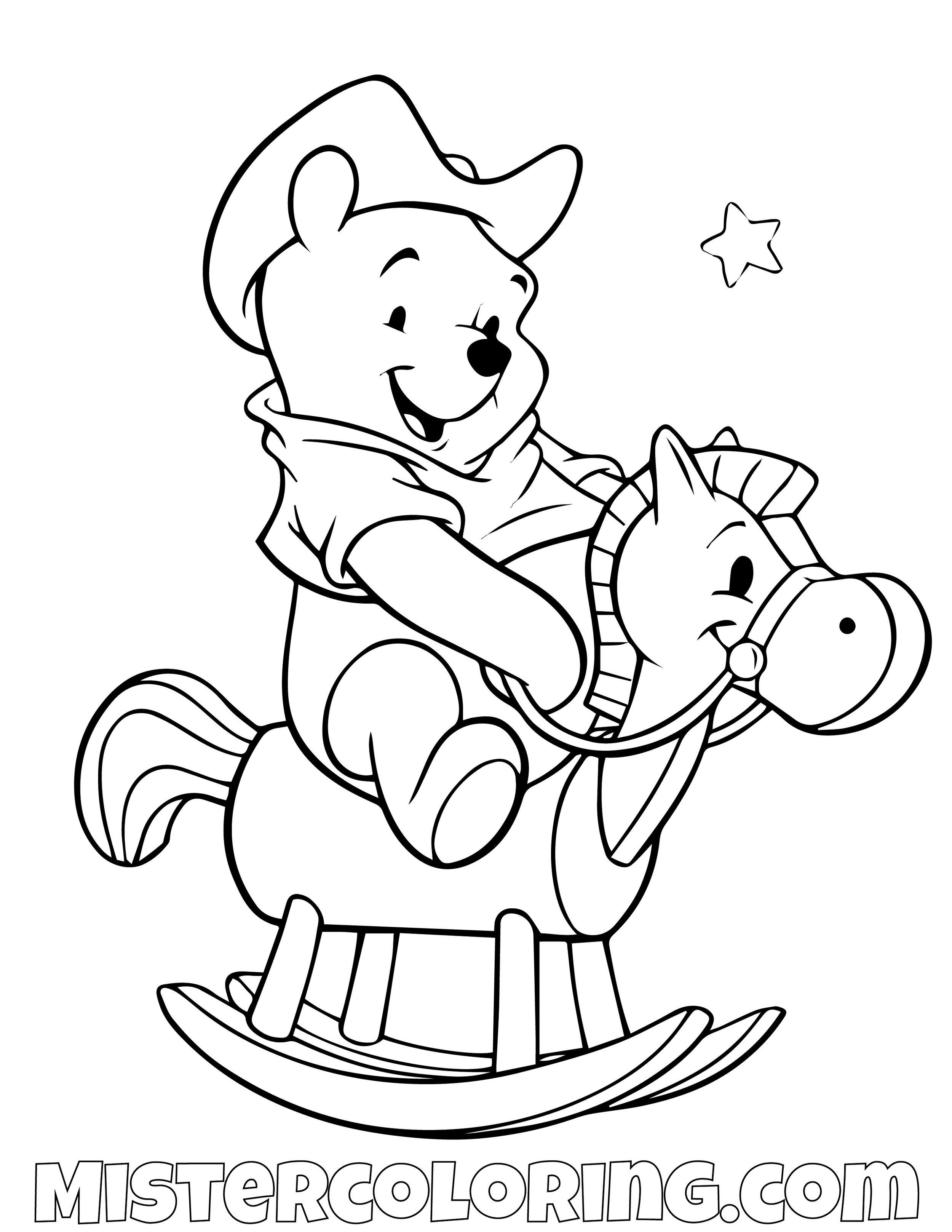 Winnie The Pooh Riding A Rocking Toy Horse Coloring Page