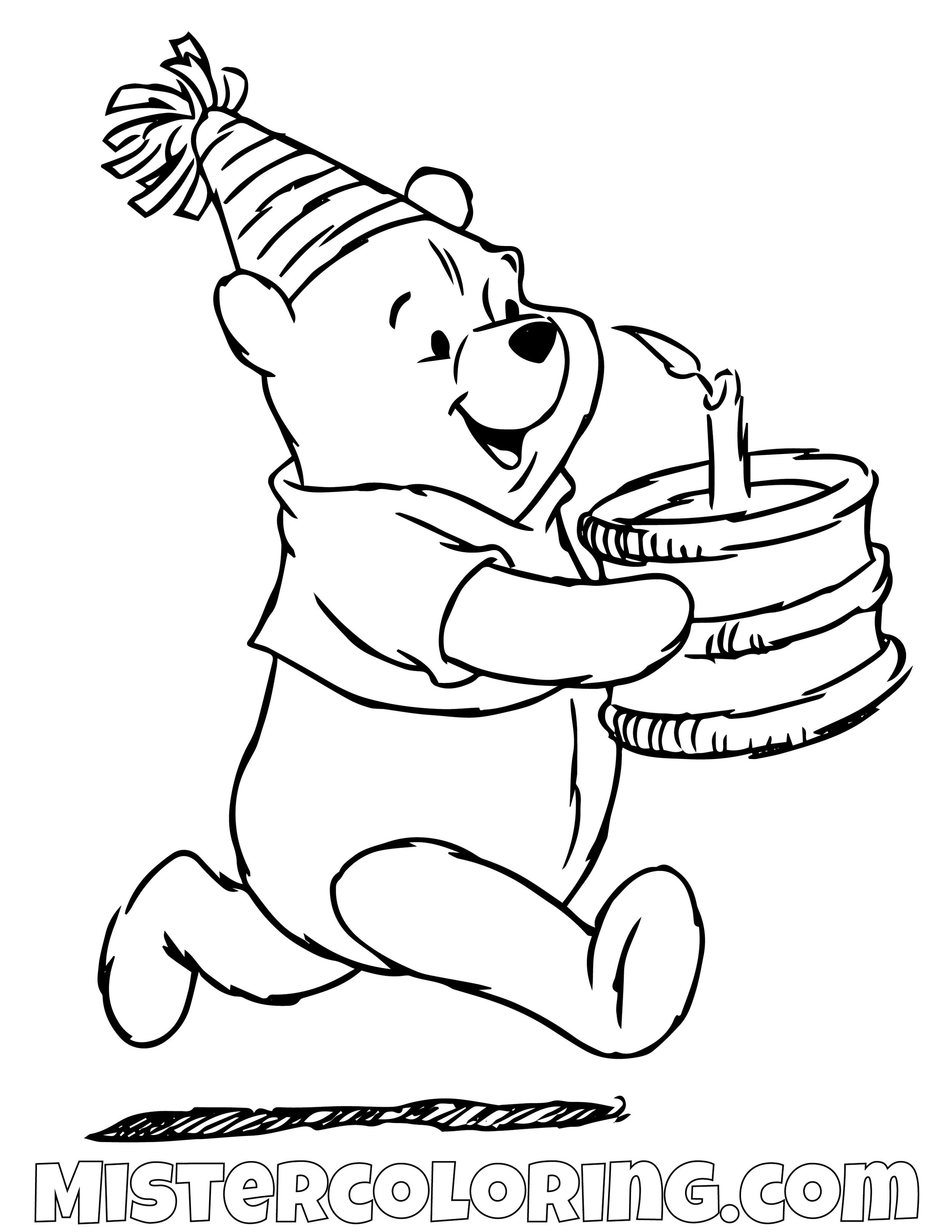 Winnie The Pooh Running With Cake Coloring Page