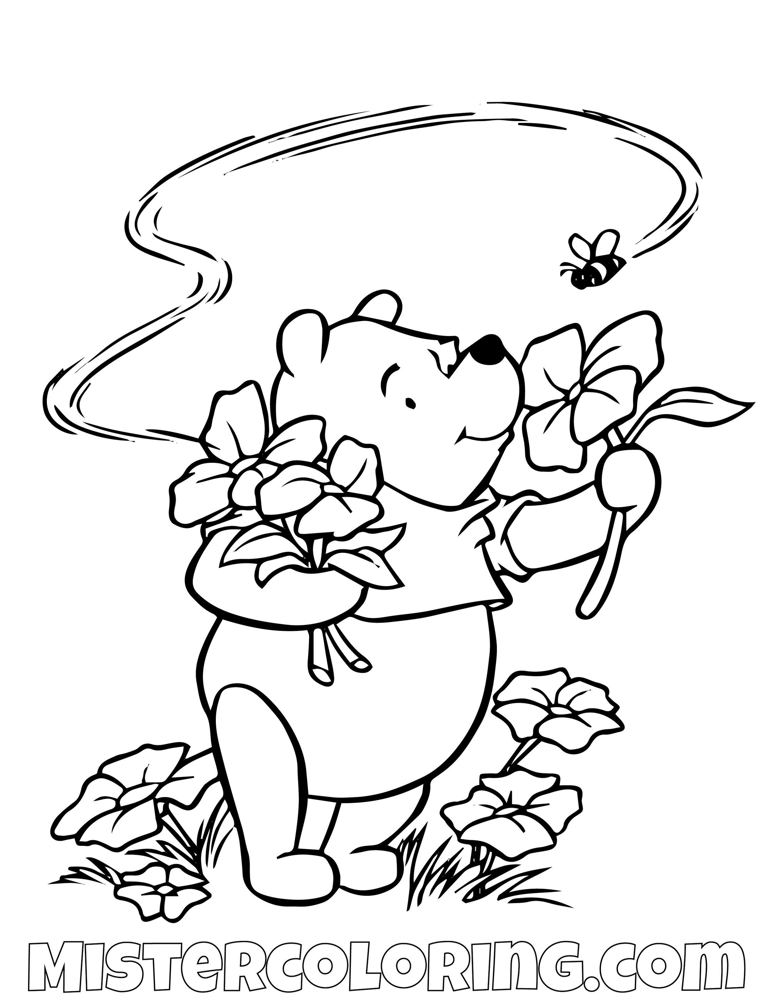 Winnie The Pooh Smelling Flowers Coloring Page