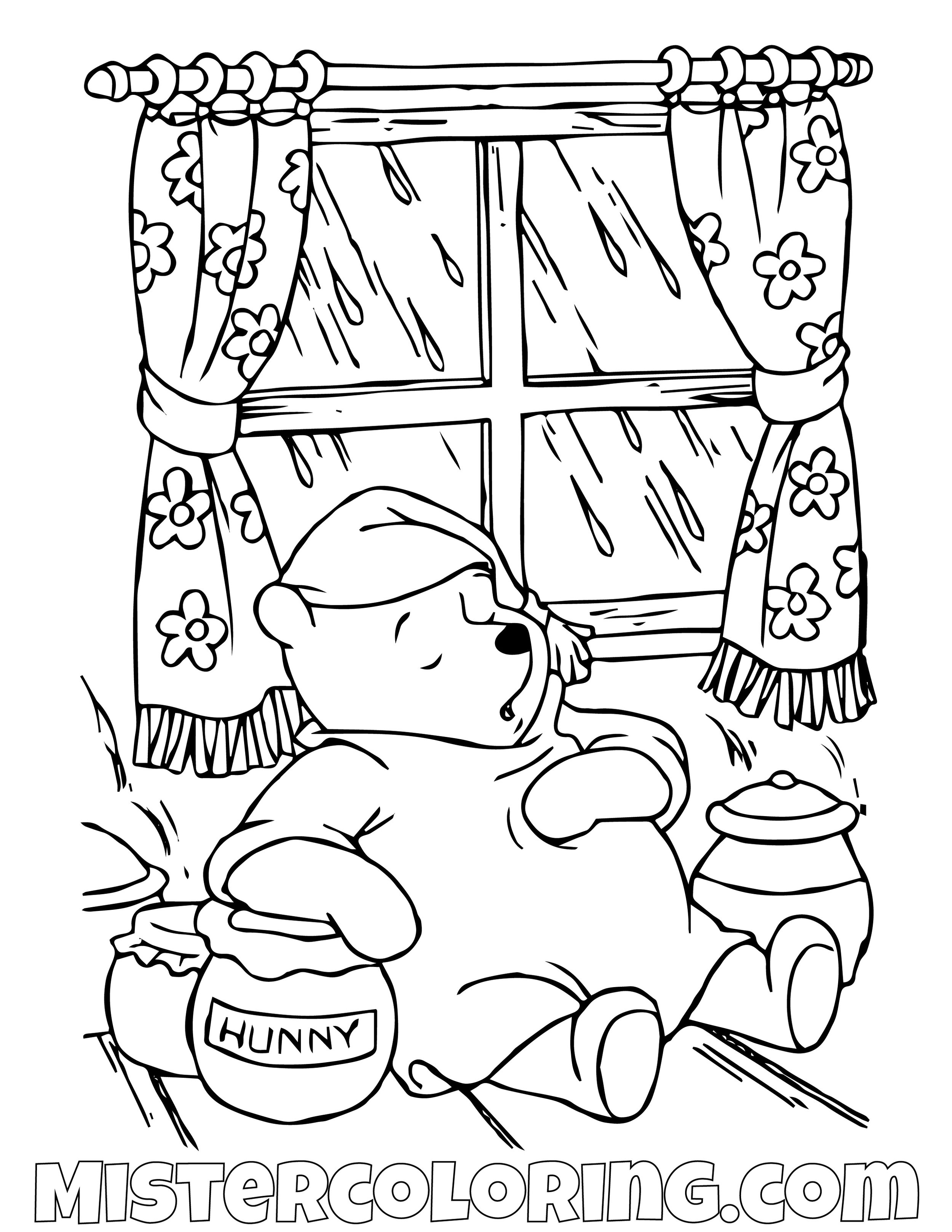 Winnie The Pooh Sleeping Inside Coloring Page