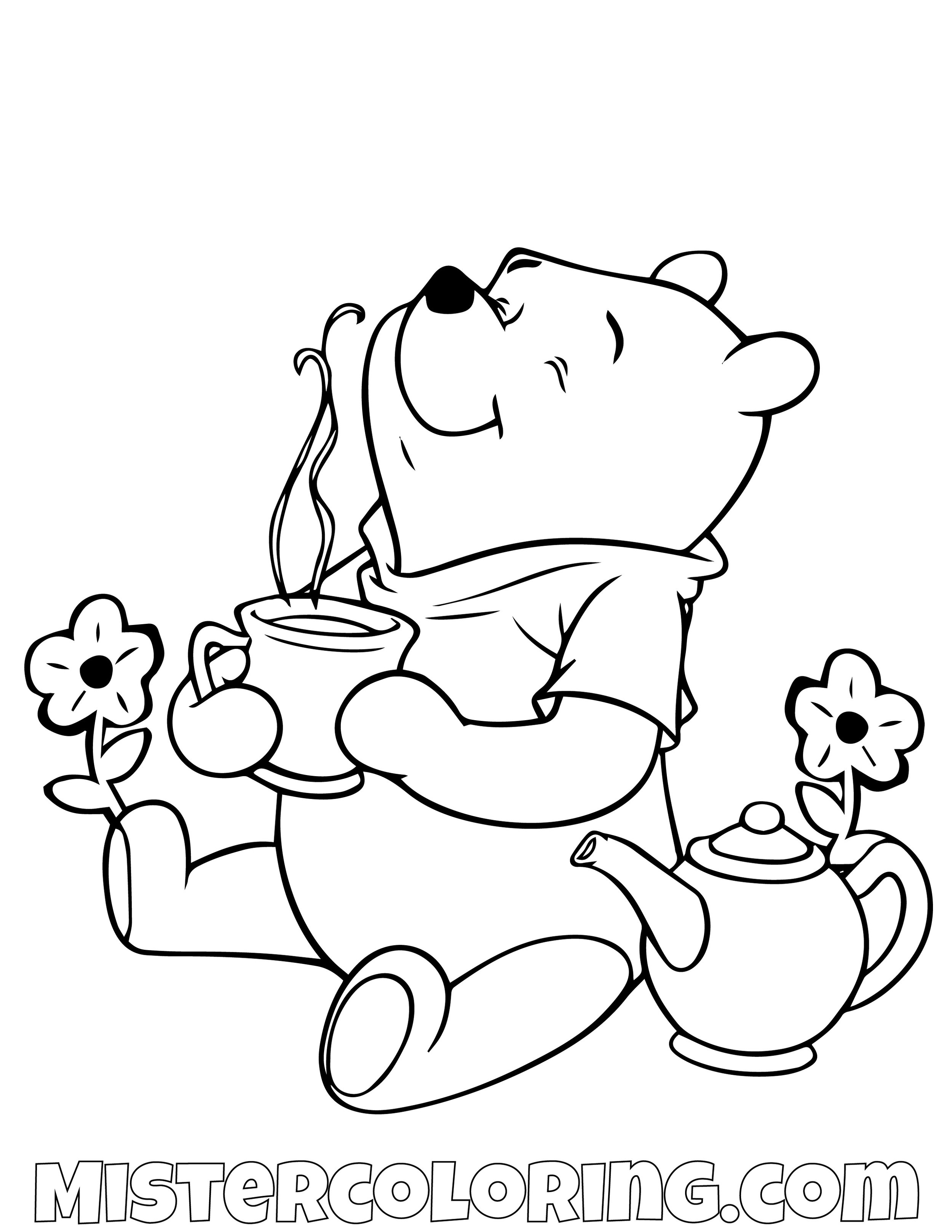 Winnie The Pooh Smelling Coffee Coloring Page
