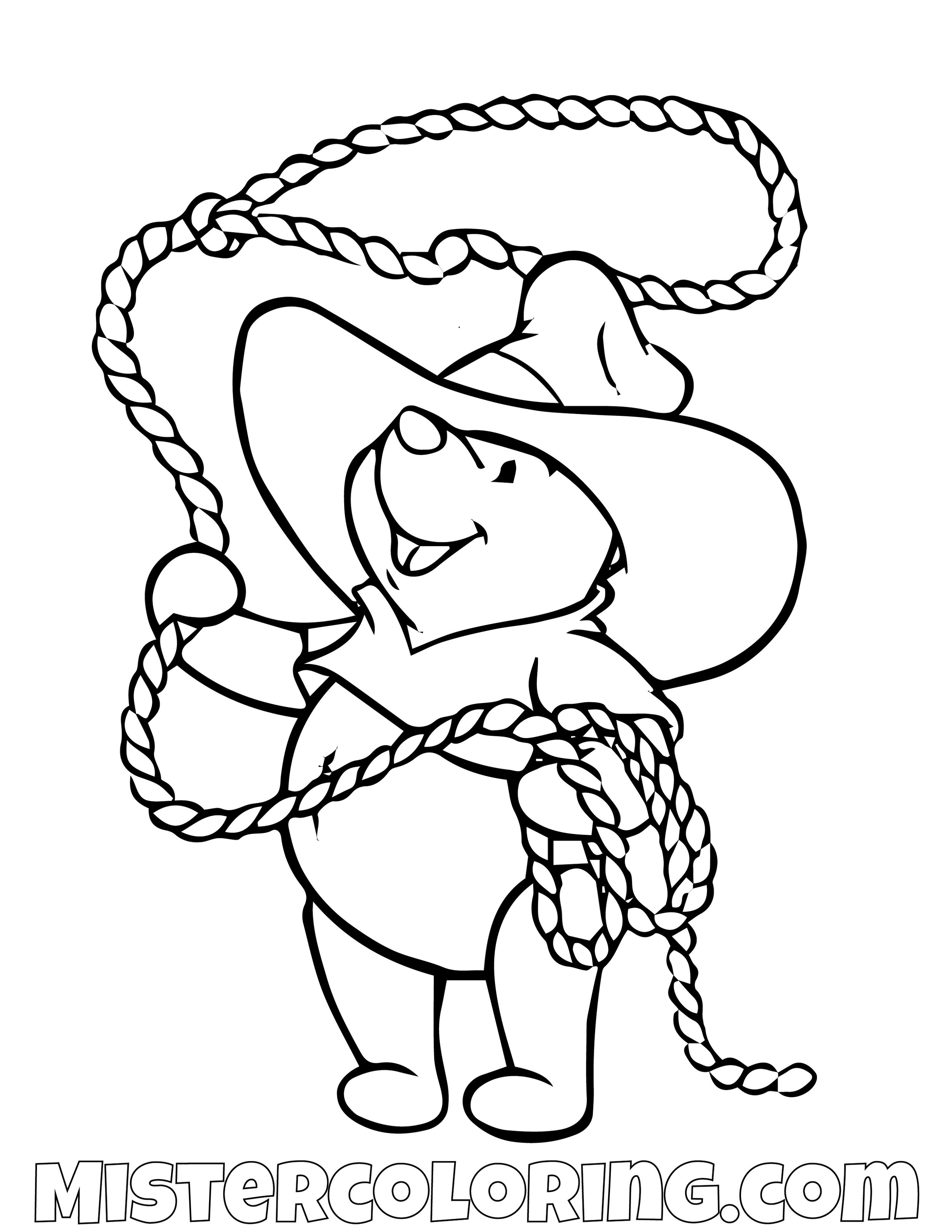 Winnie The Pooh Swinging Rope Coloring Page