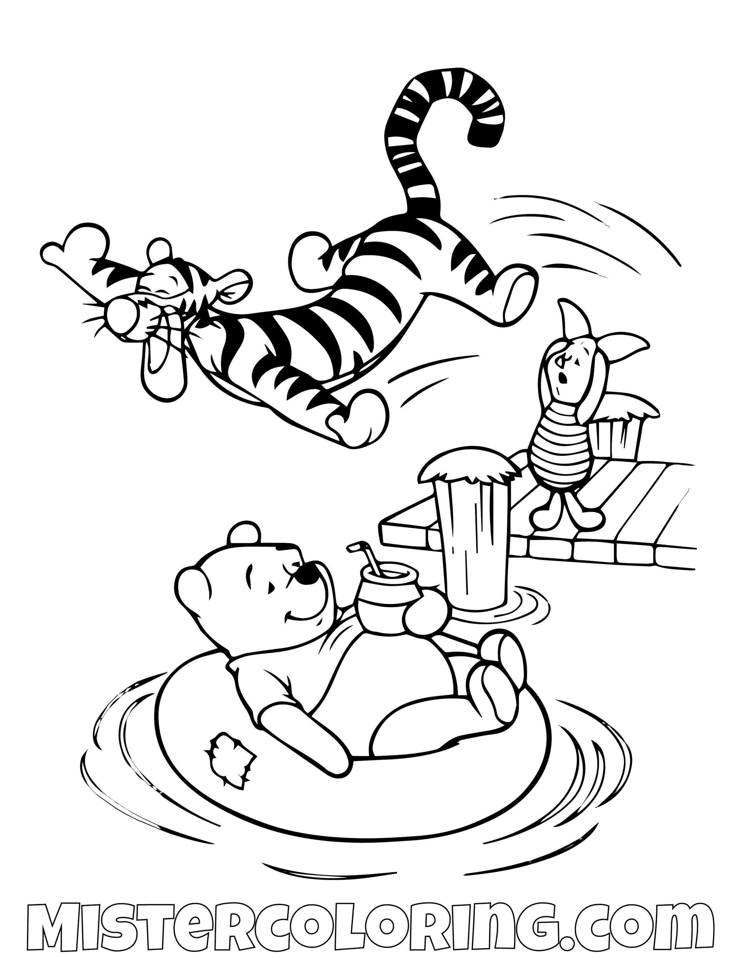 Winnie The Pooh Tiger And Piggy Enjoying The Lake Coloring Page