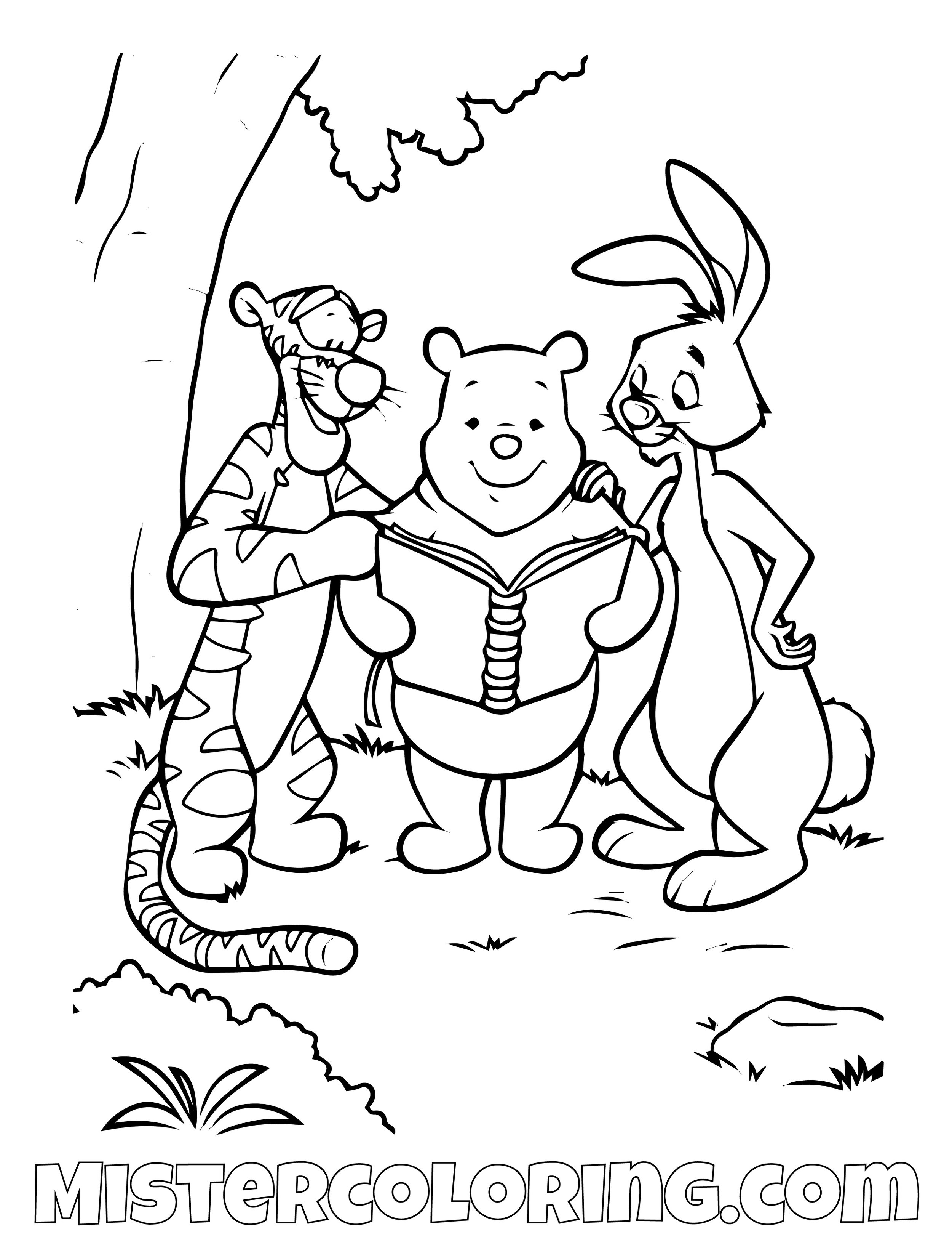 Winnie The Pooh Tiger And Rabbit Reading Coloring Page