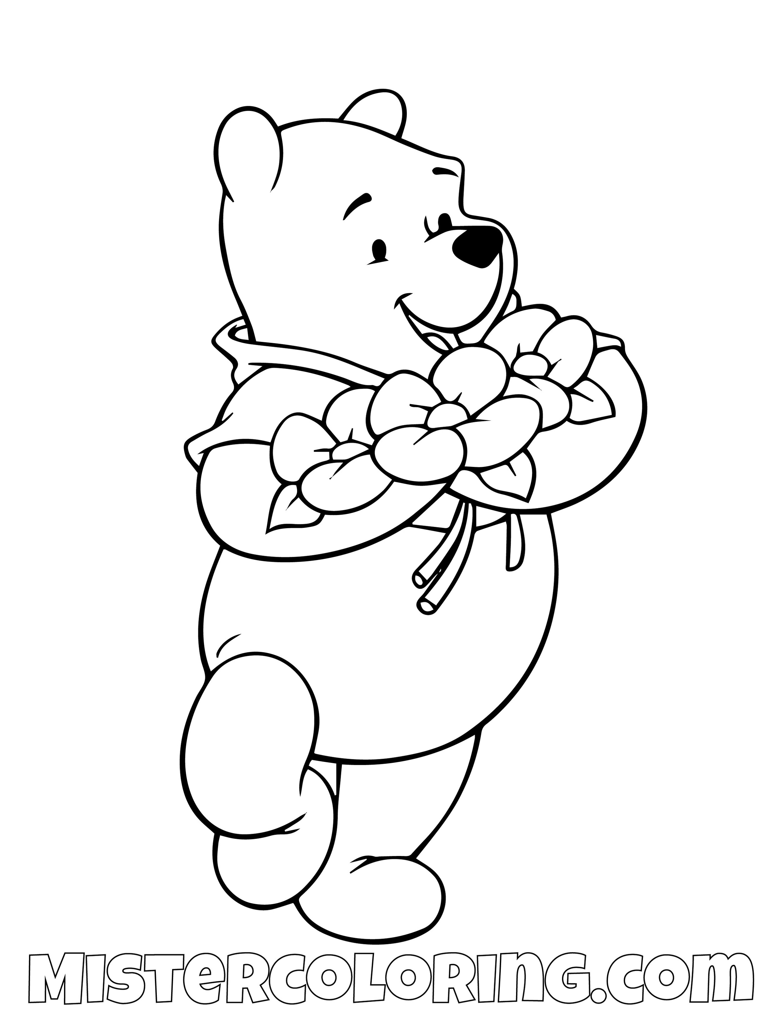 Winnie The Pooh With Roses Coloring Page