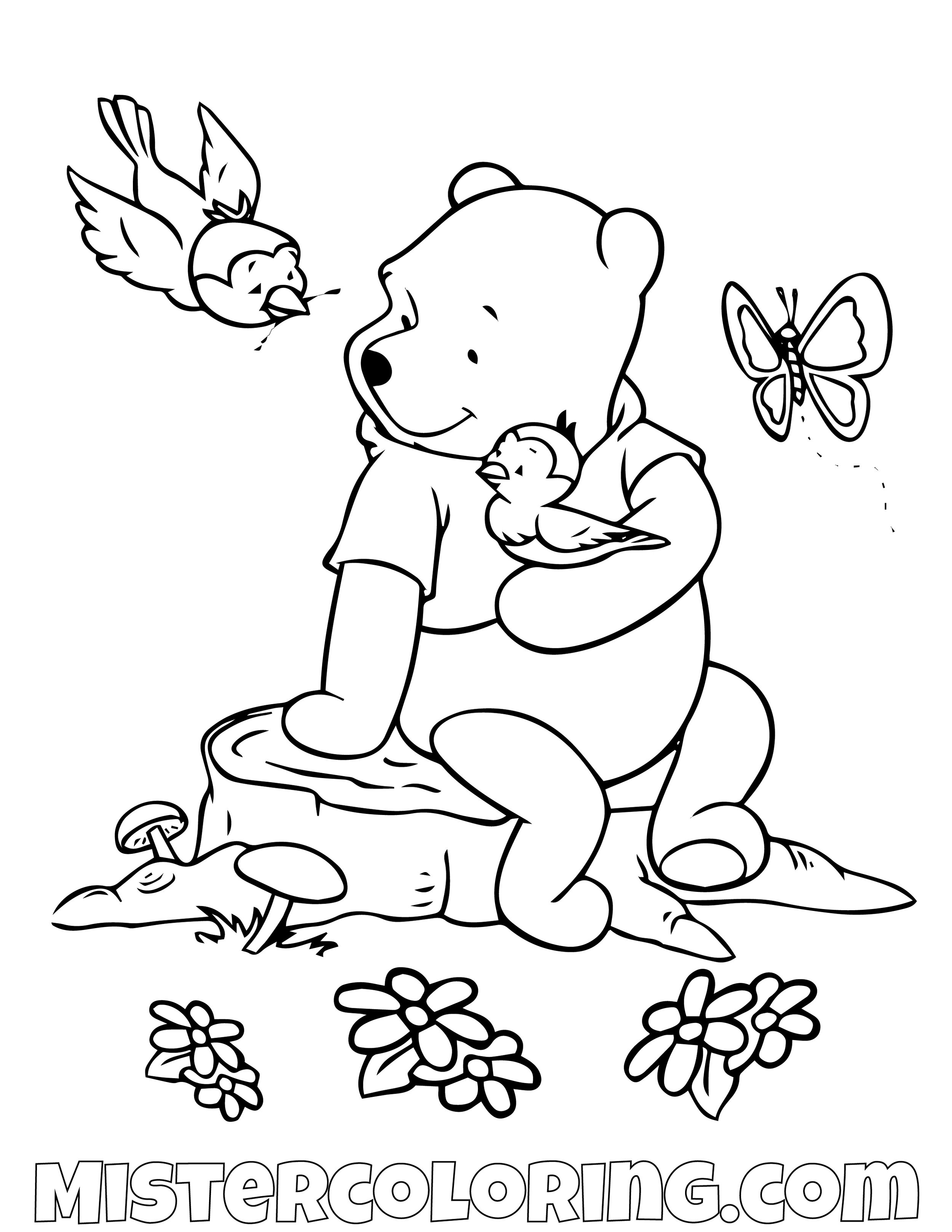 Winnie The Pooh With Flowers Coloring Page