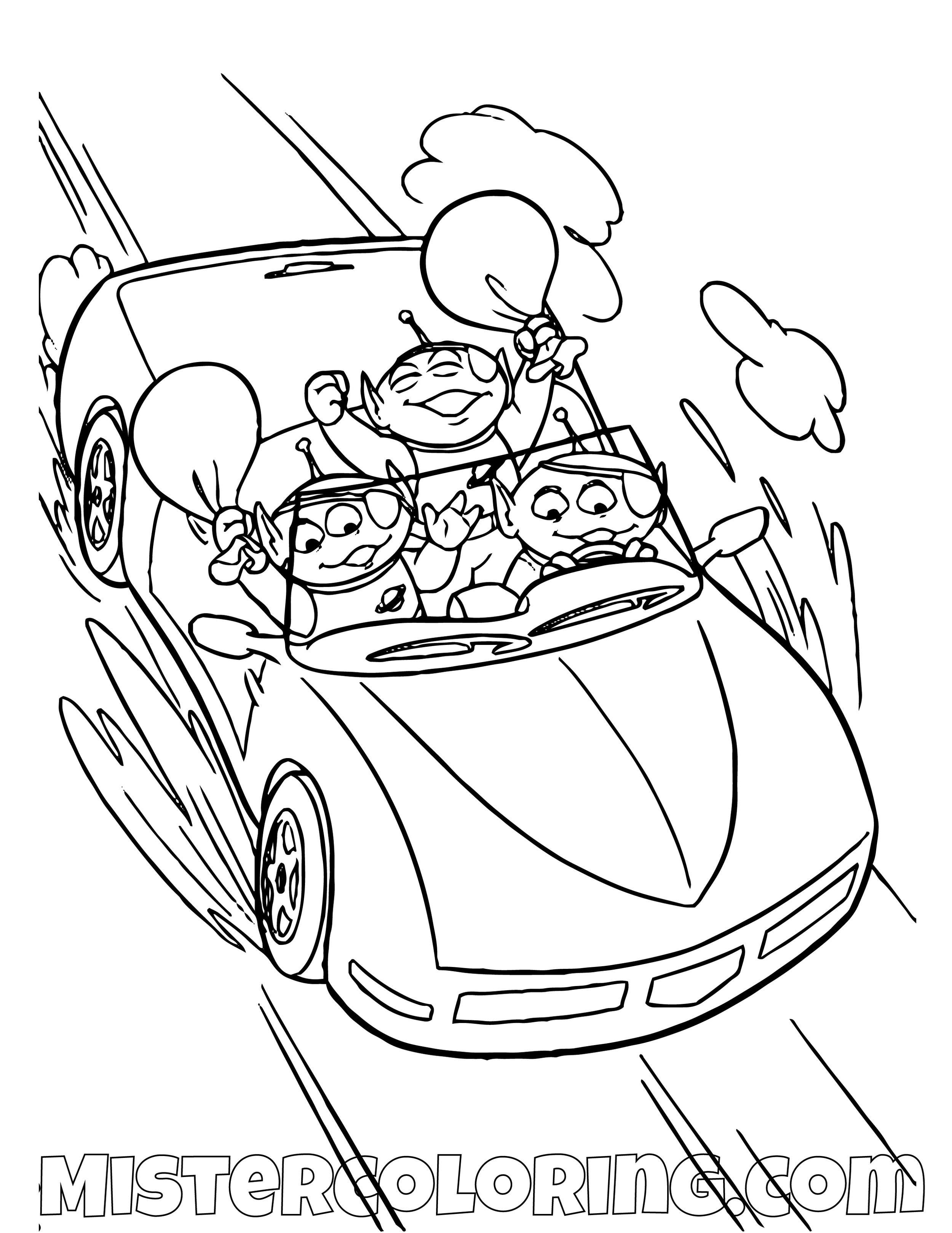 Alien Driving A Car Toy Story Coloring Page