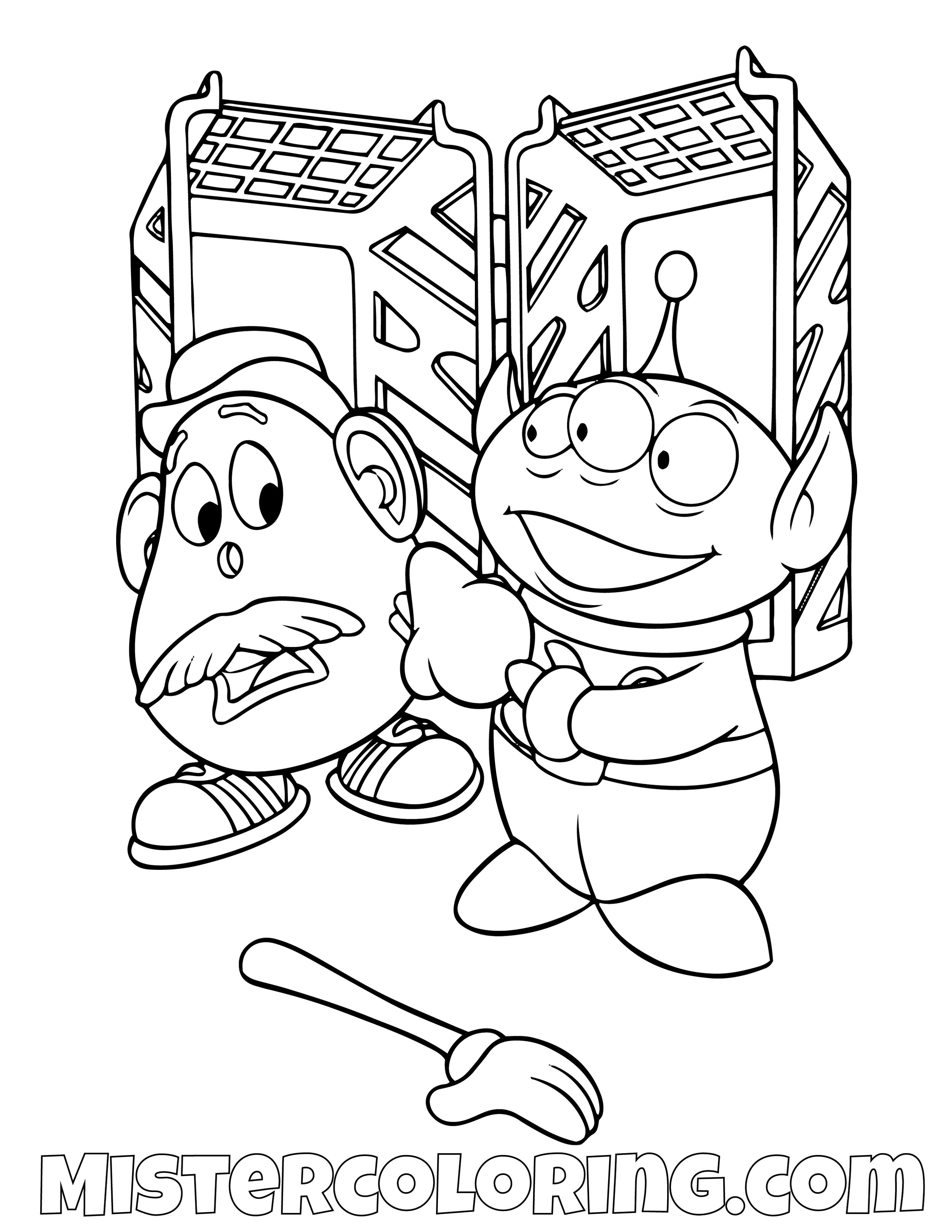 Alien Helping Mr Potato Head Toy Story Coloring Page