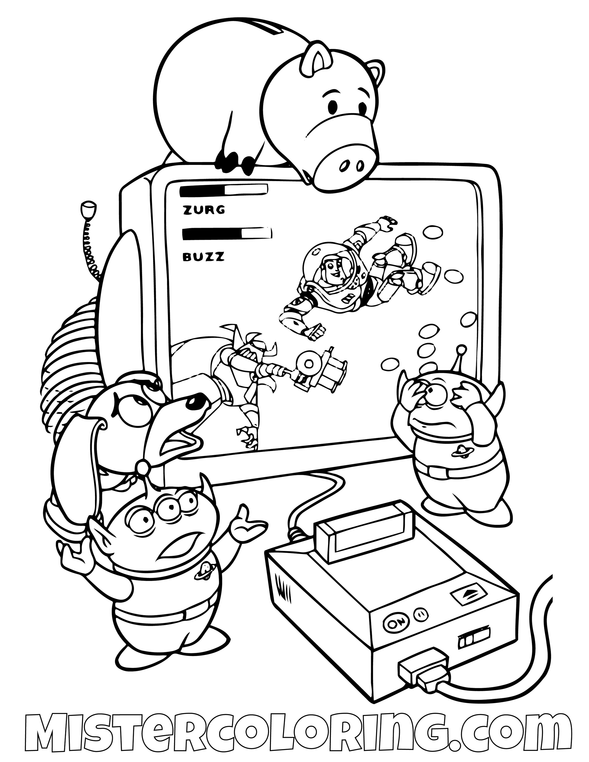 Alien Stringy Dog And Ham Playing A Video Game Toy Story Coloring Page