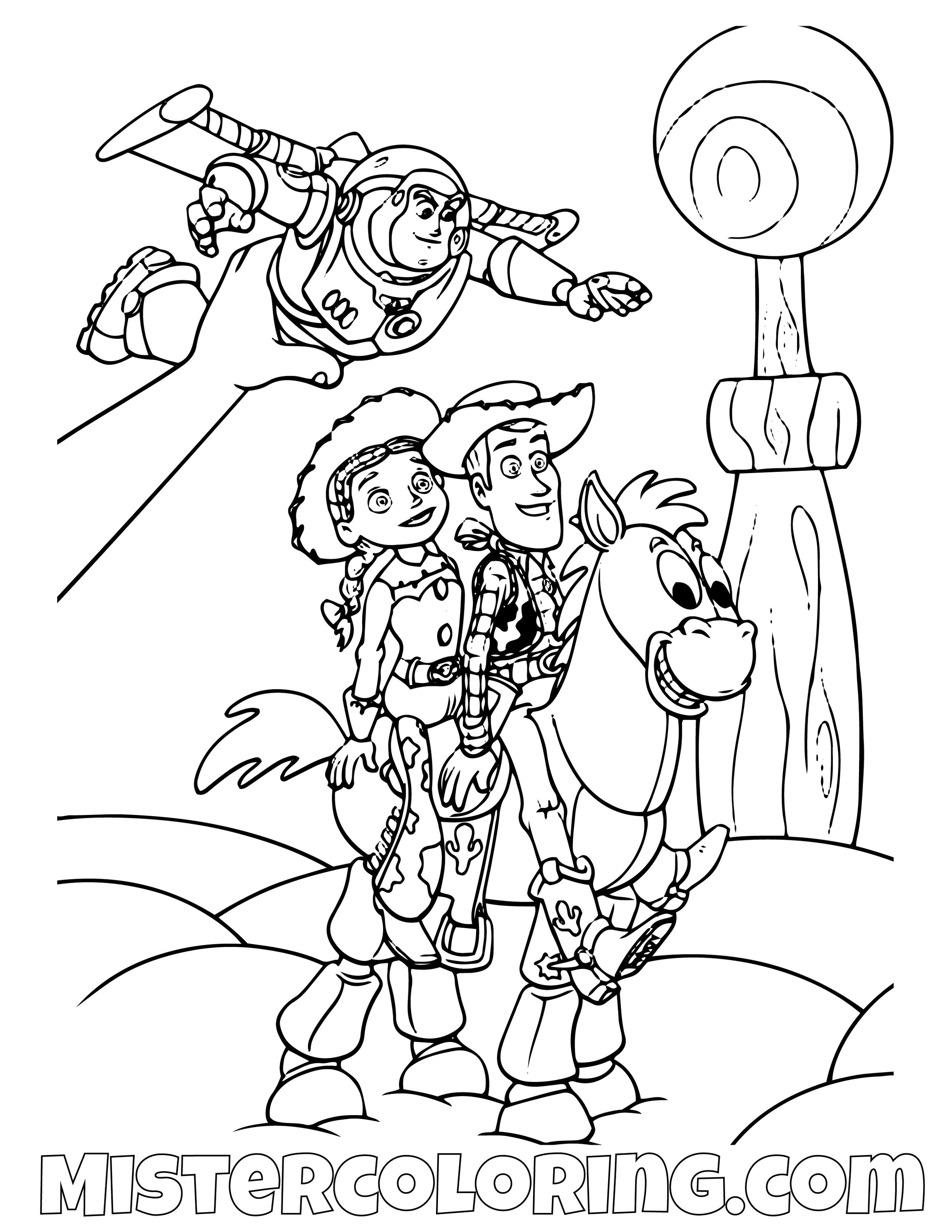 Andy Playing With Buzz Lightyear Jessie Sheriff Woody And Bullseye Toy Story Coloring Page