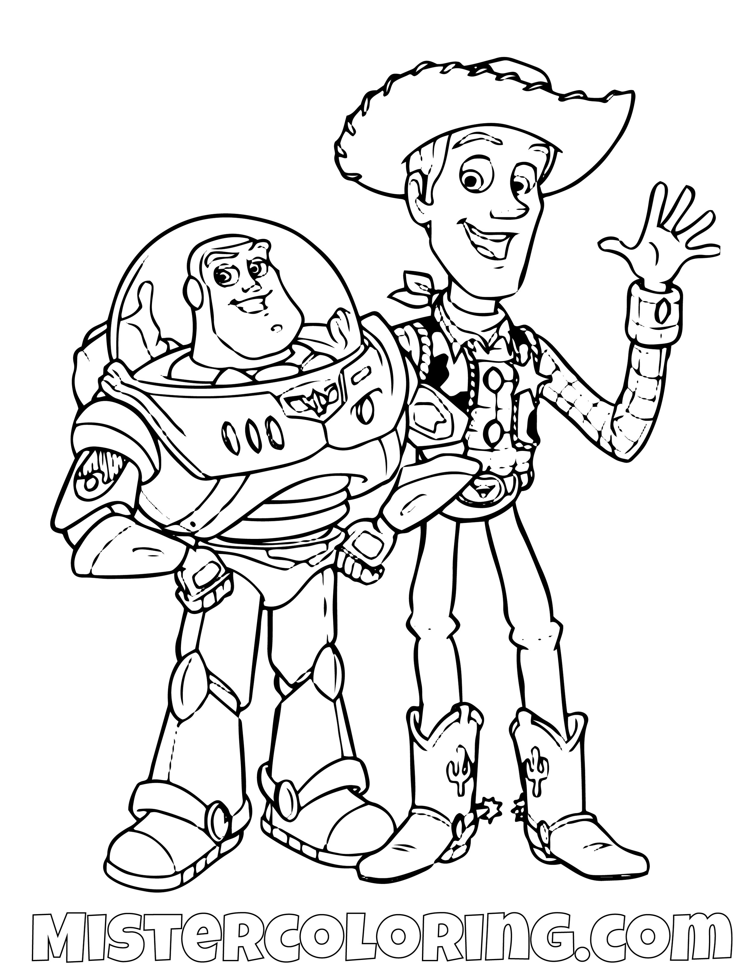 Buzz Lightyear And Sheriff Woody Toy Story Coloring Page