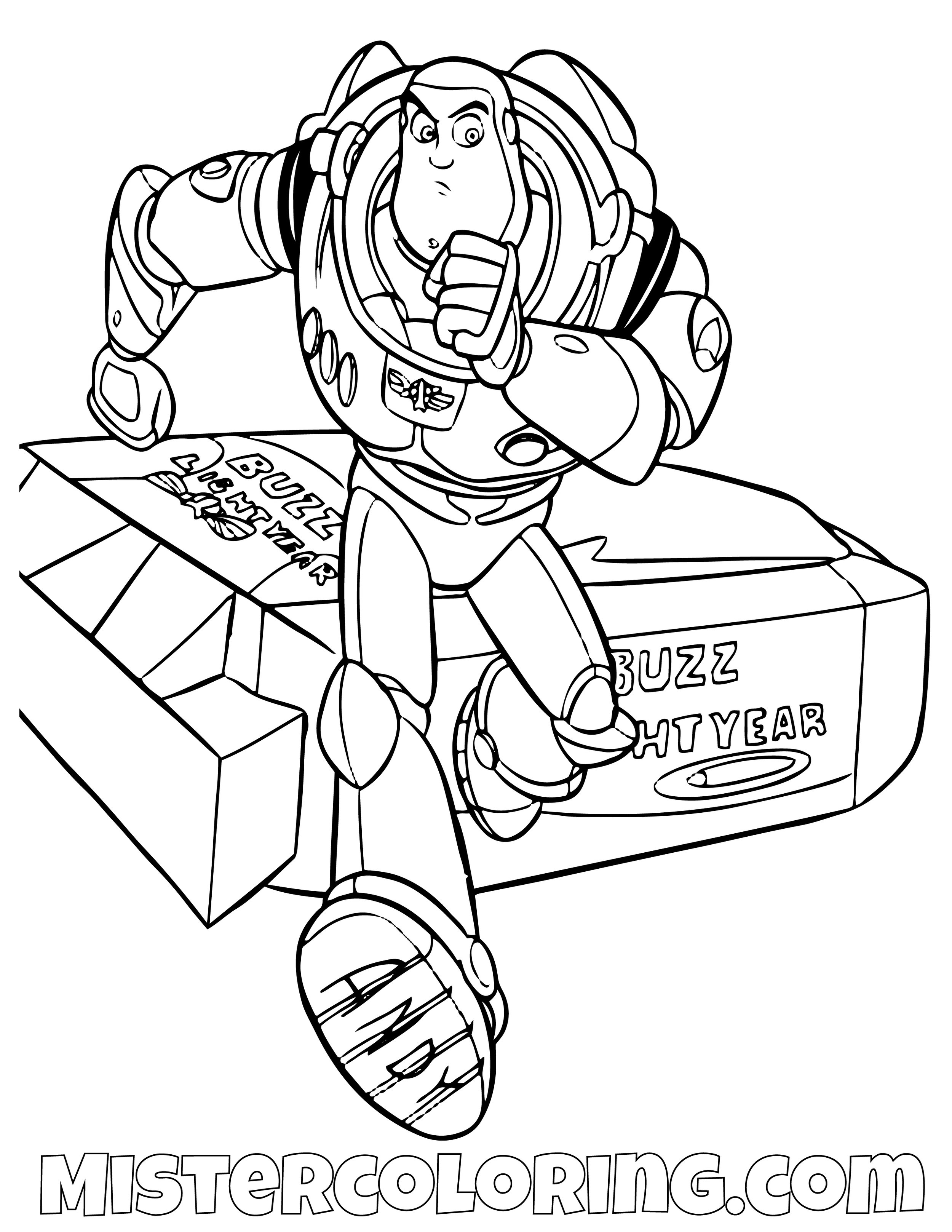 Buzz Lightyear Escaping His Box Toy Story Coloring Page