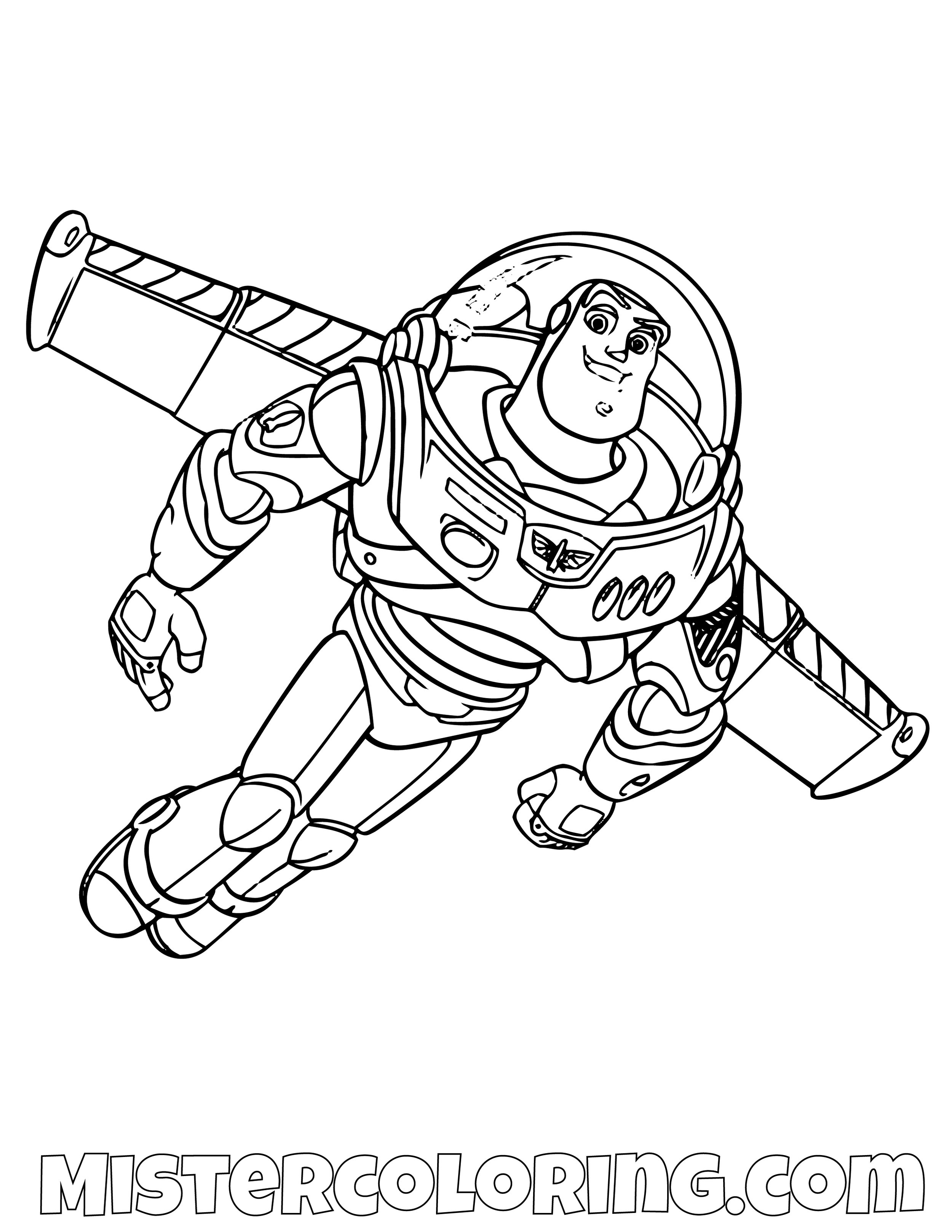 Buzz Lightyear Flying Toy Story Coloring Page