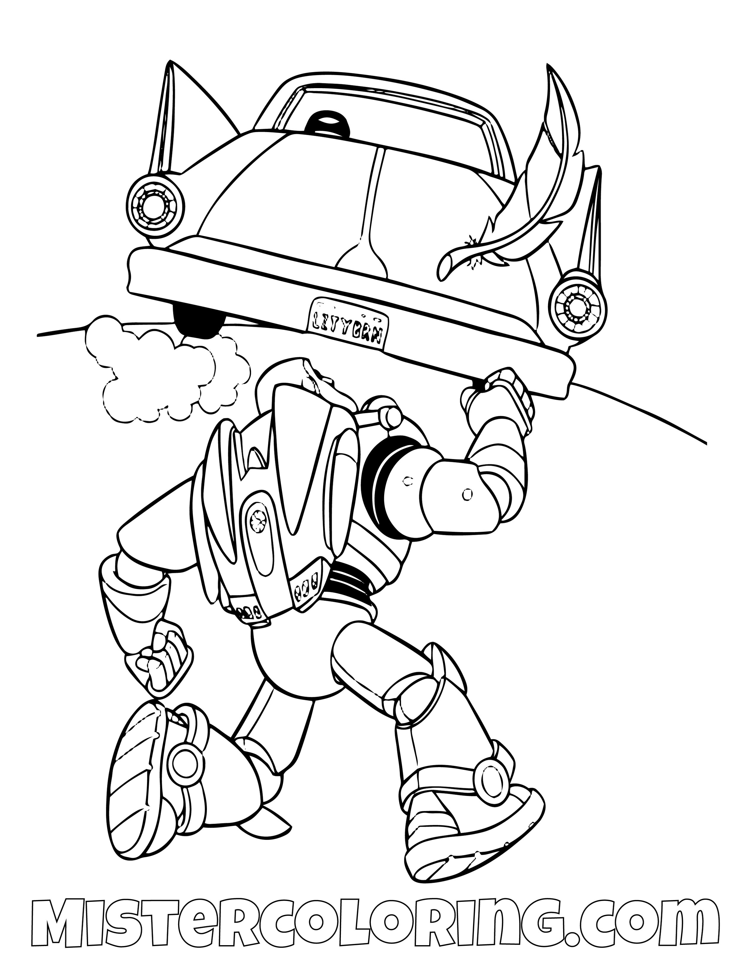 Buzz Lightyear Following A Car Toy Story Coloring Page