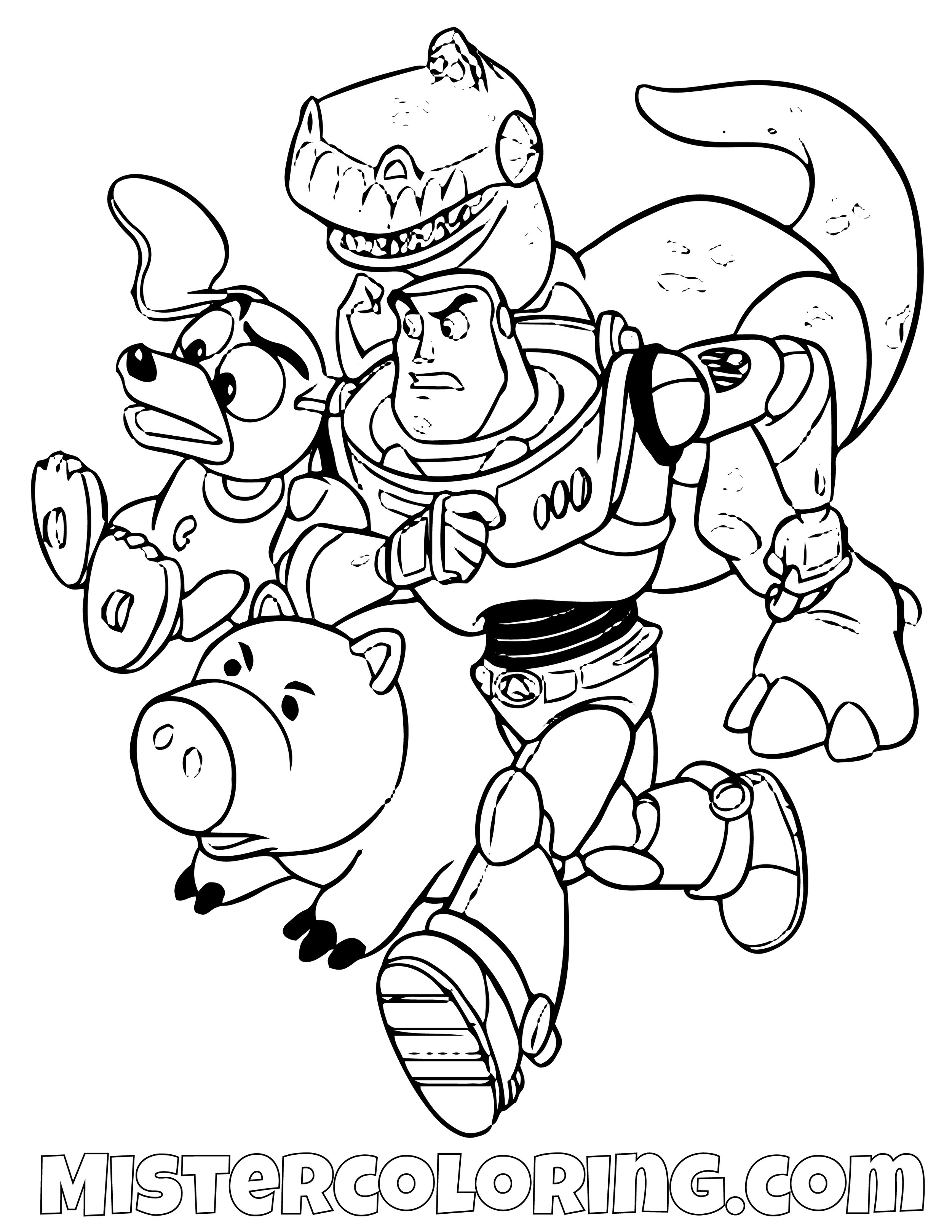 Buzz Lightyear Ham Stringy Dog And Rex Mad Running Toy Story Coloring Page