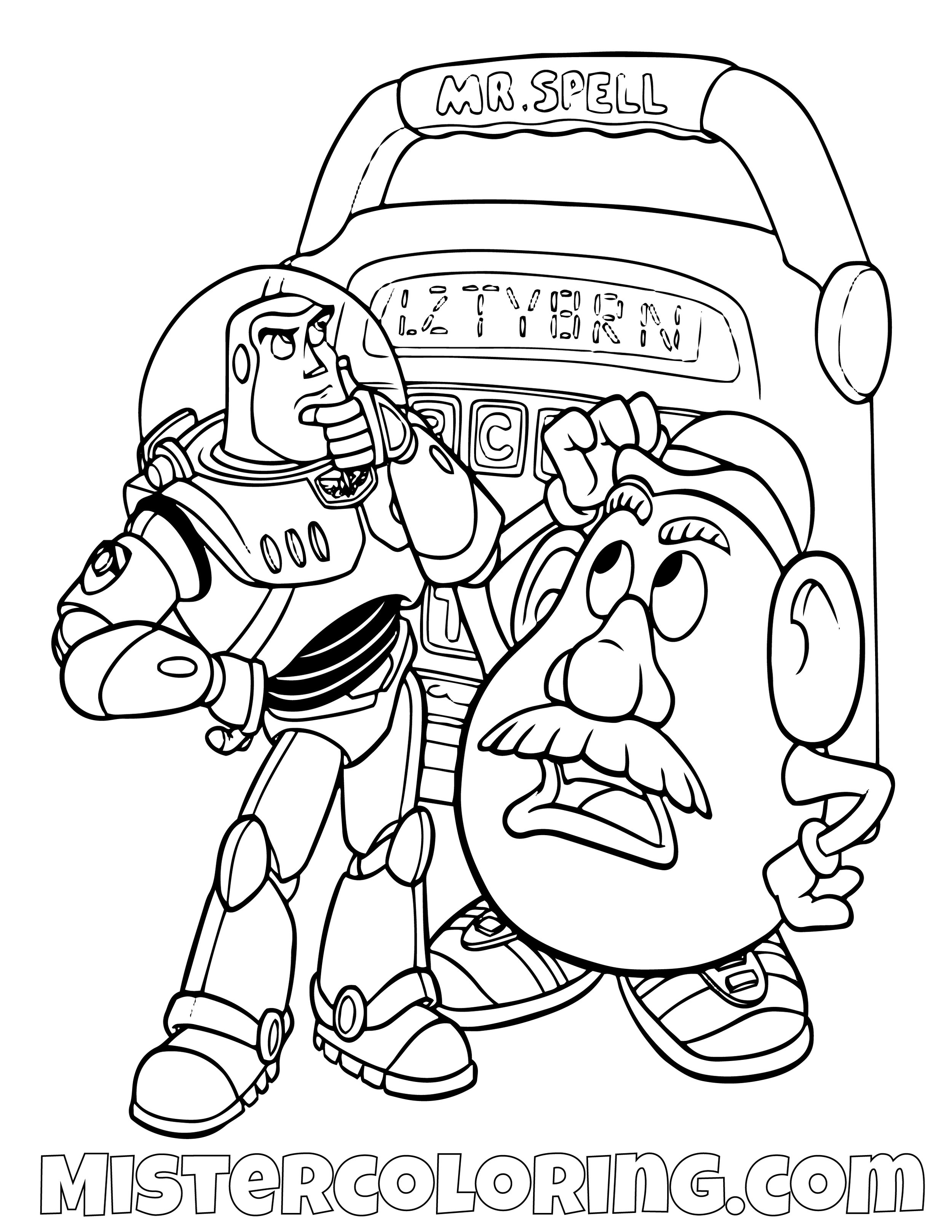 Buzz Lightyear Mr Potato Head And Mr Spell Thinking Toy Story Coloring Page