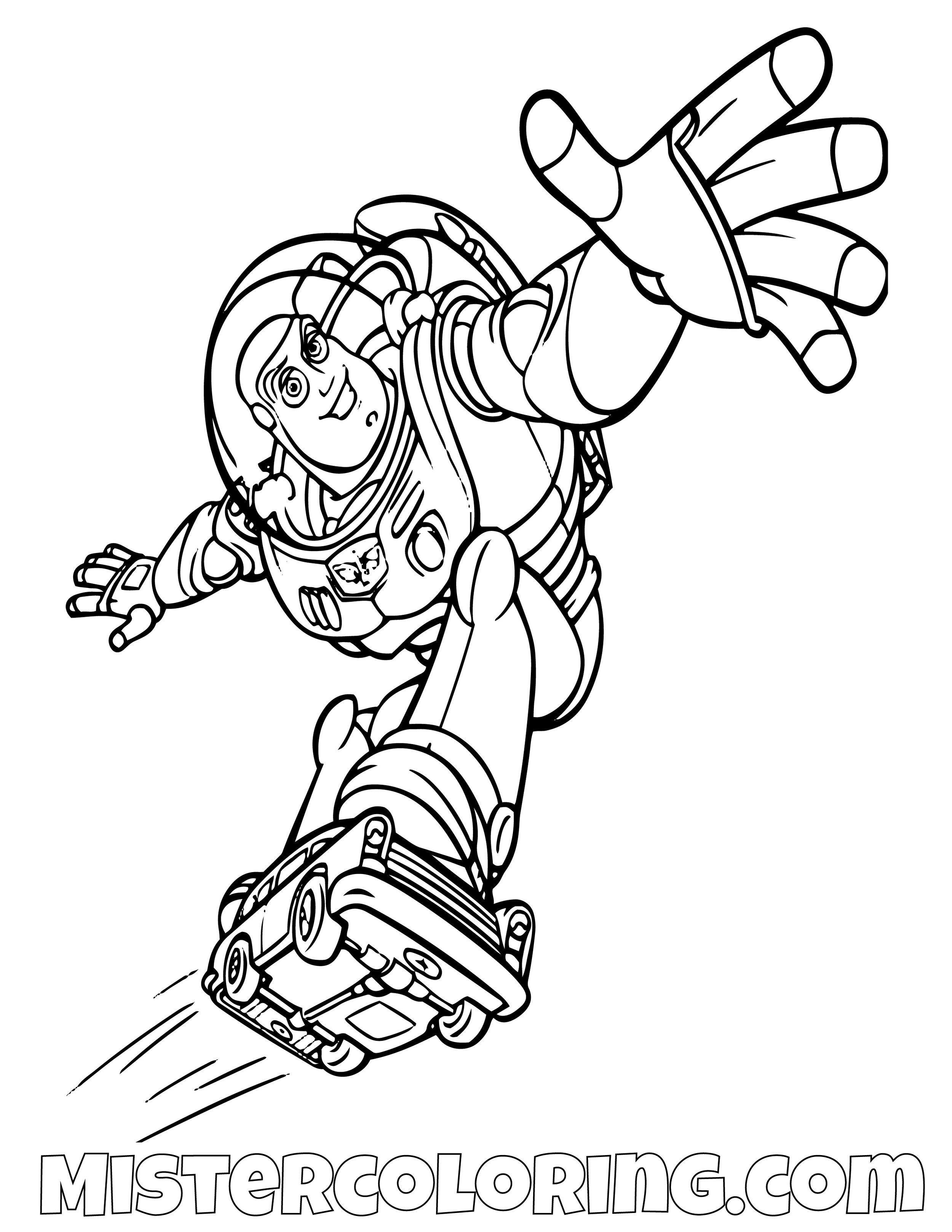 Buzz Lightyear Riding A Car Toy Story Coloring Page