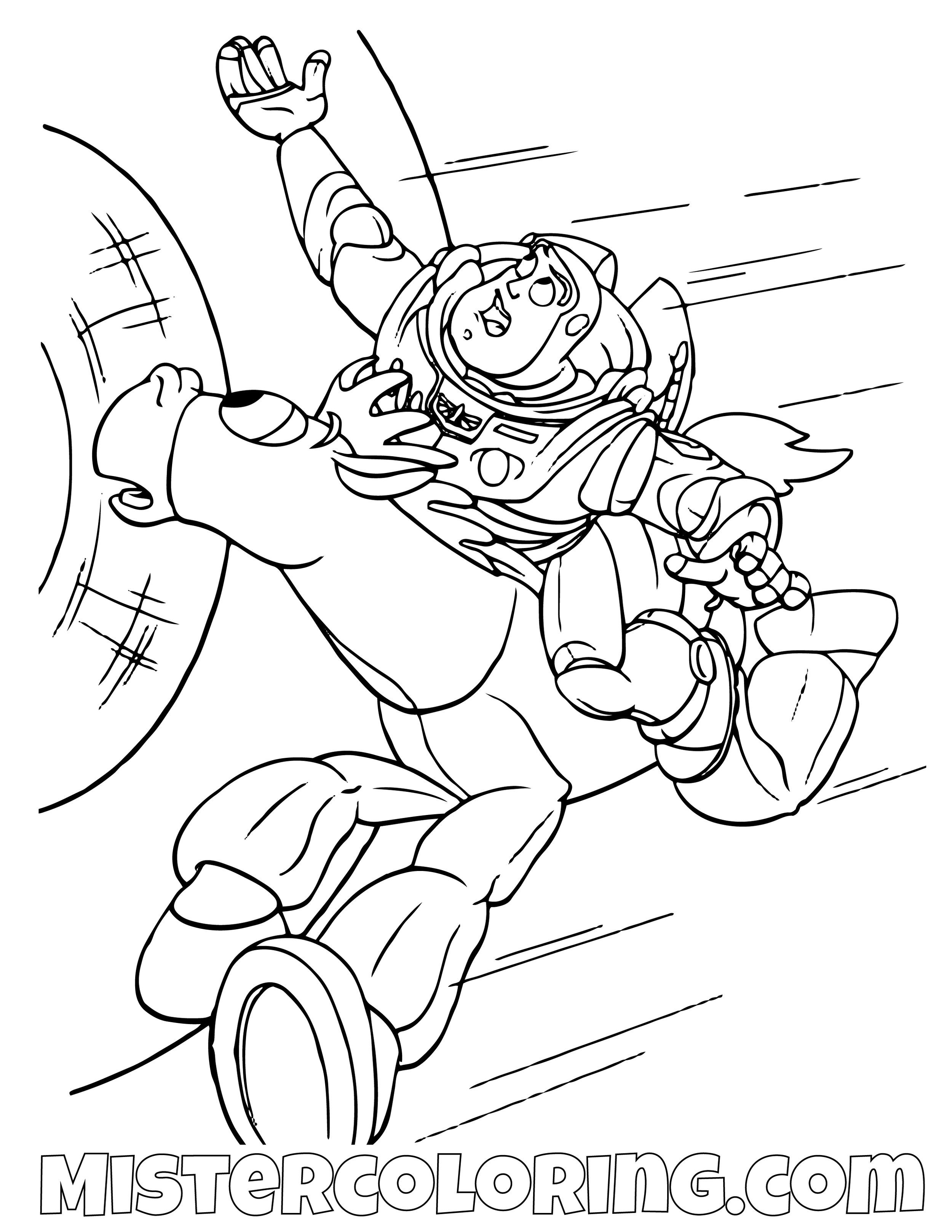 Buzz Lightyear Riding Bullseye To Save Woody Toy Story Coloring Page