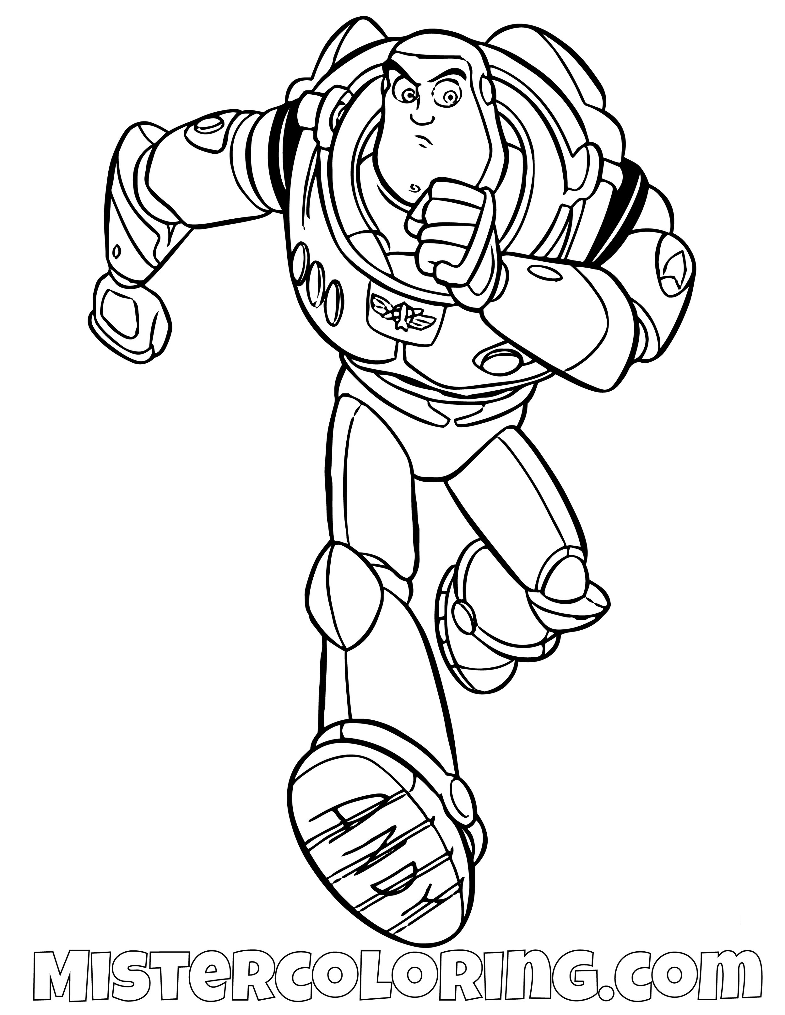 Buzz Lightyear Running Toy Story Coloring Page
