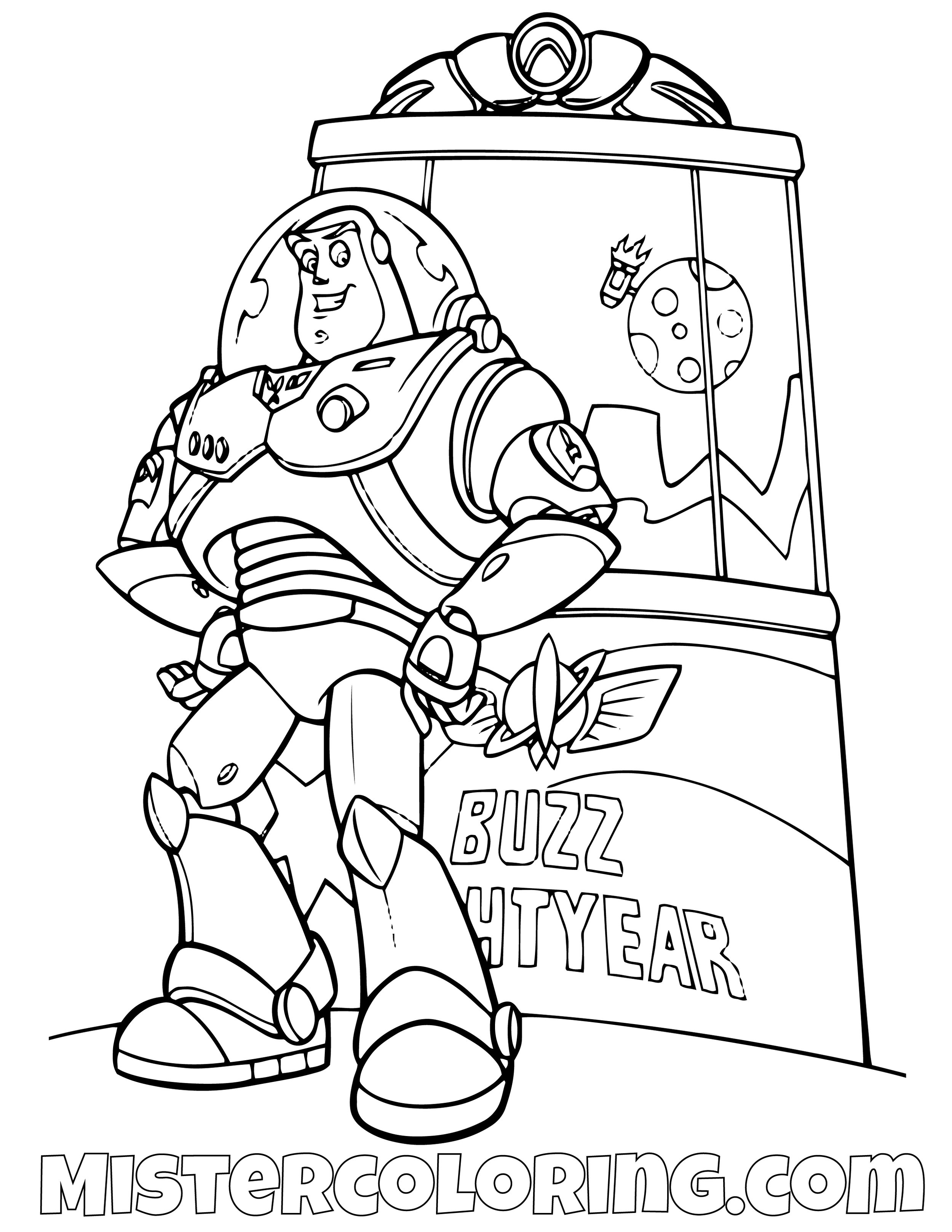 Buzz Lightyear With His Box Toy Story Coloring Page