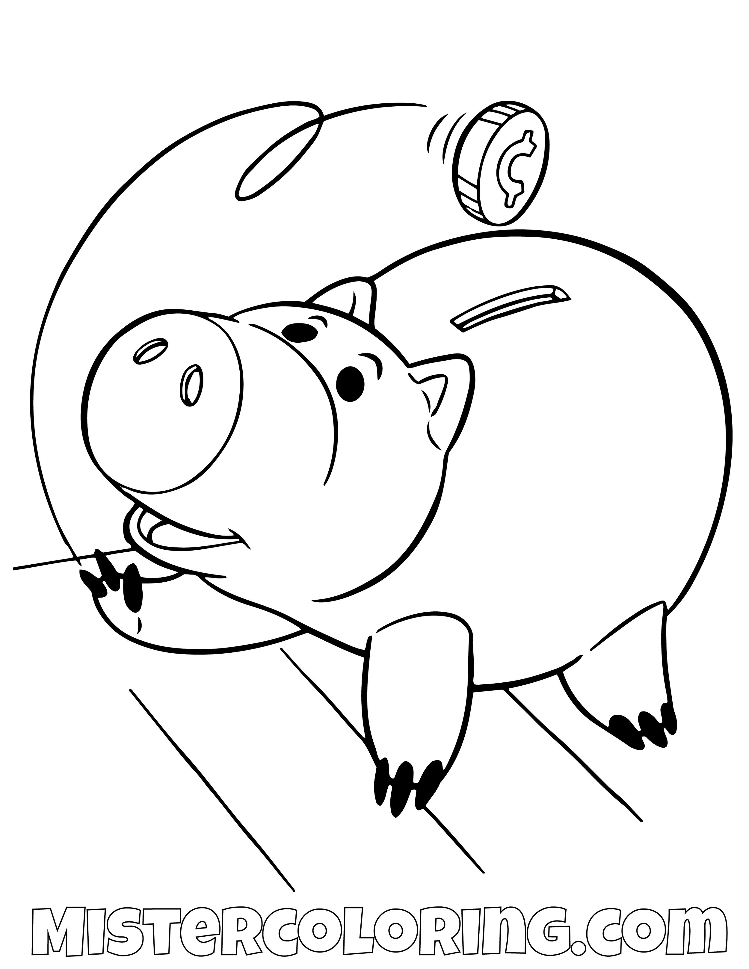 Ham Feeding Himself Coins Toy Story Coloring Page