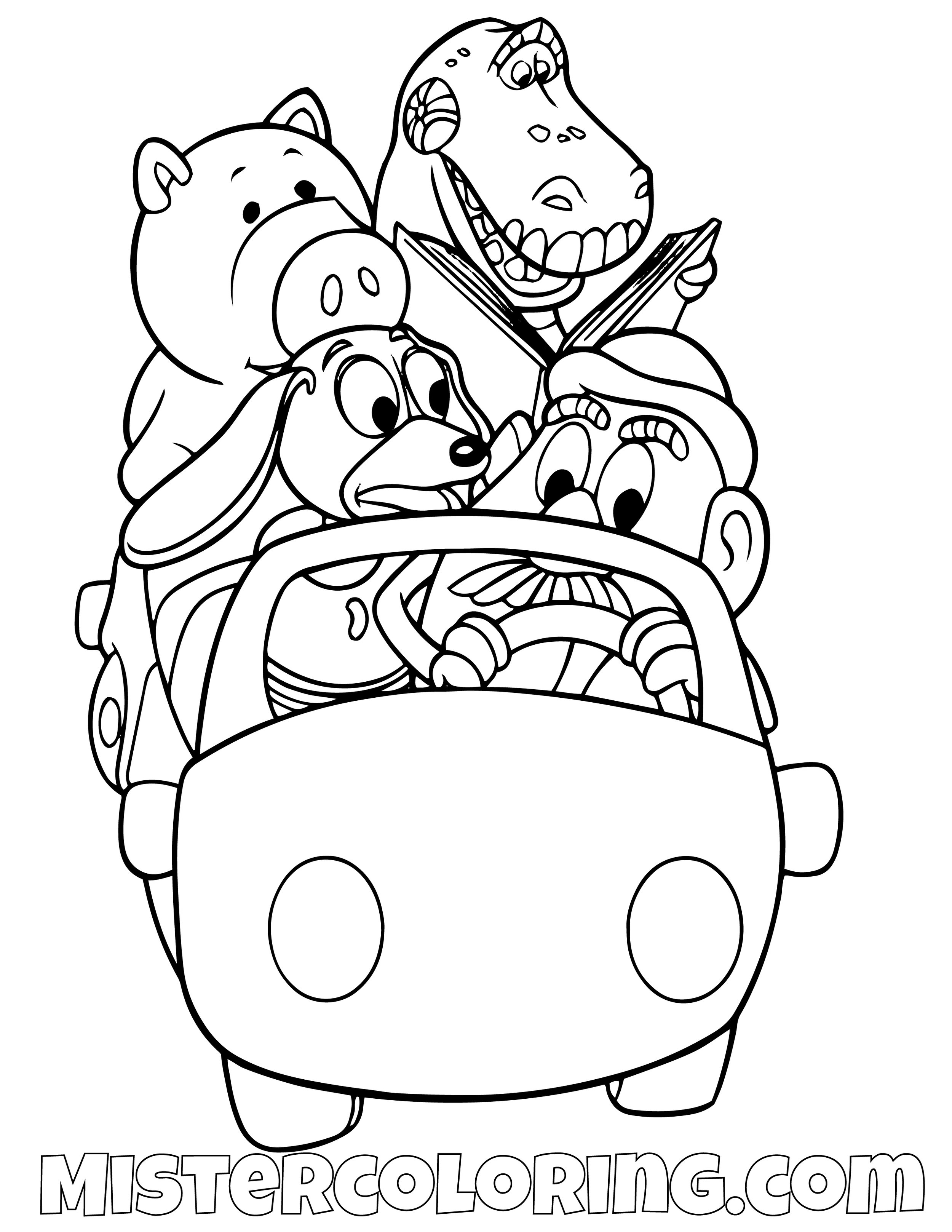 Ham Rex Slinky Dog And Mr Potato Head Driving A Car Toy Story Coloring Page